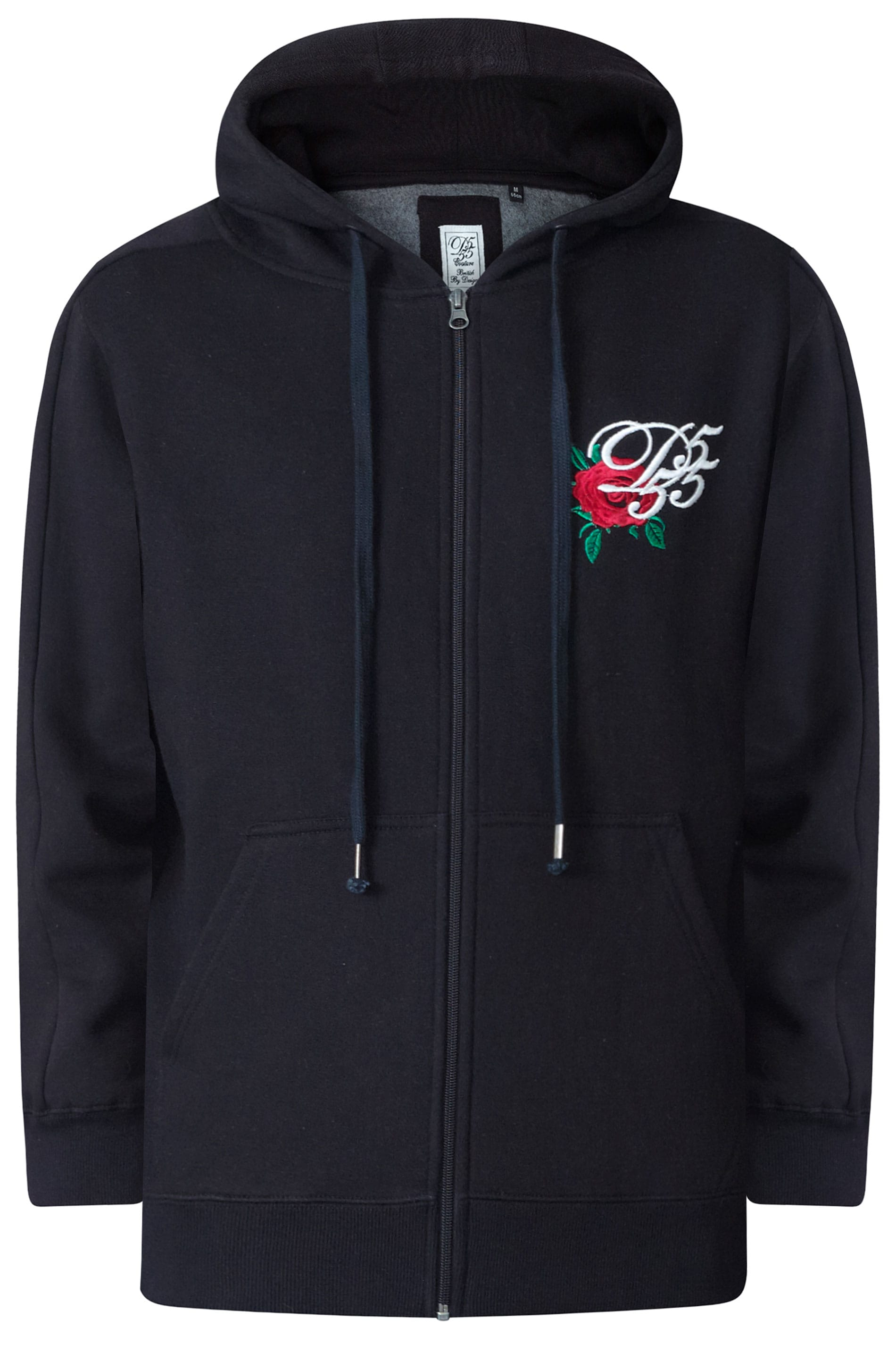 D555 Couture Black Rose Embroidery Hoodie