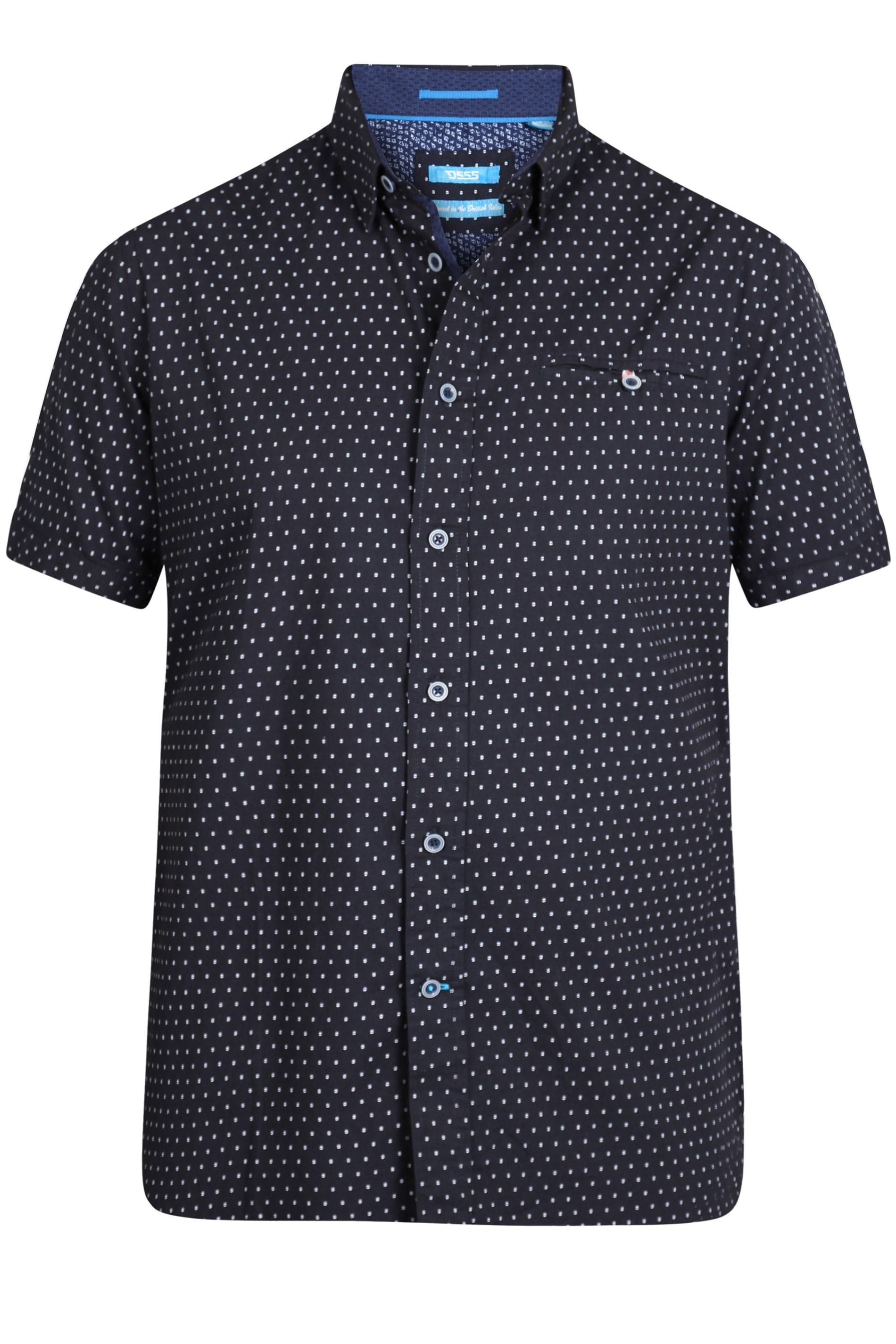 D555 Navy Spot Print Shirt