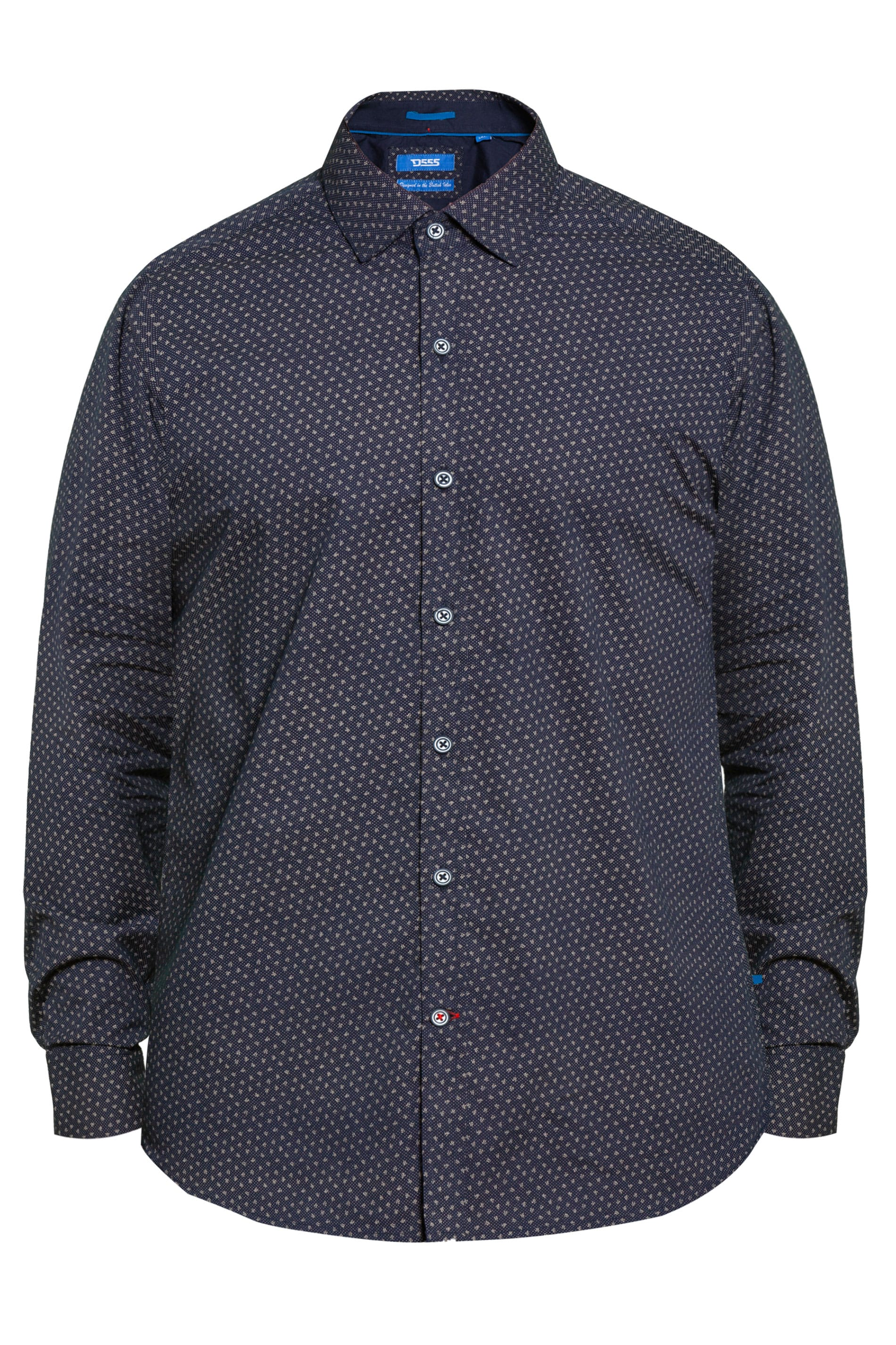 D555 Navy Leaf Print Shirt