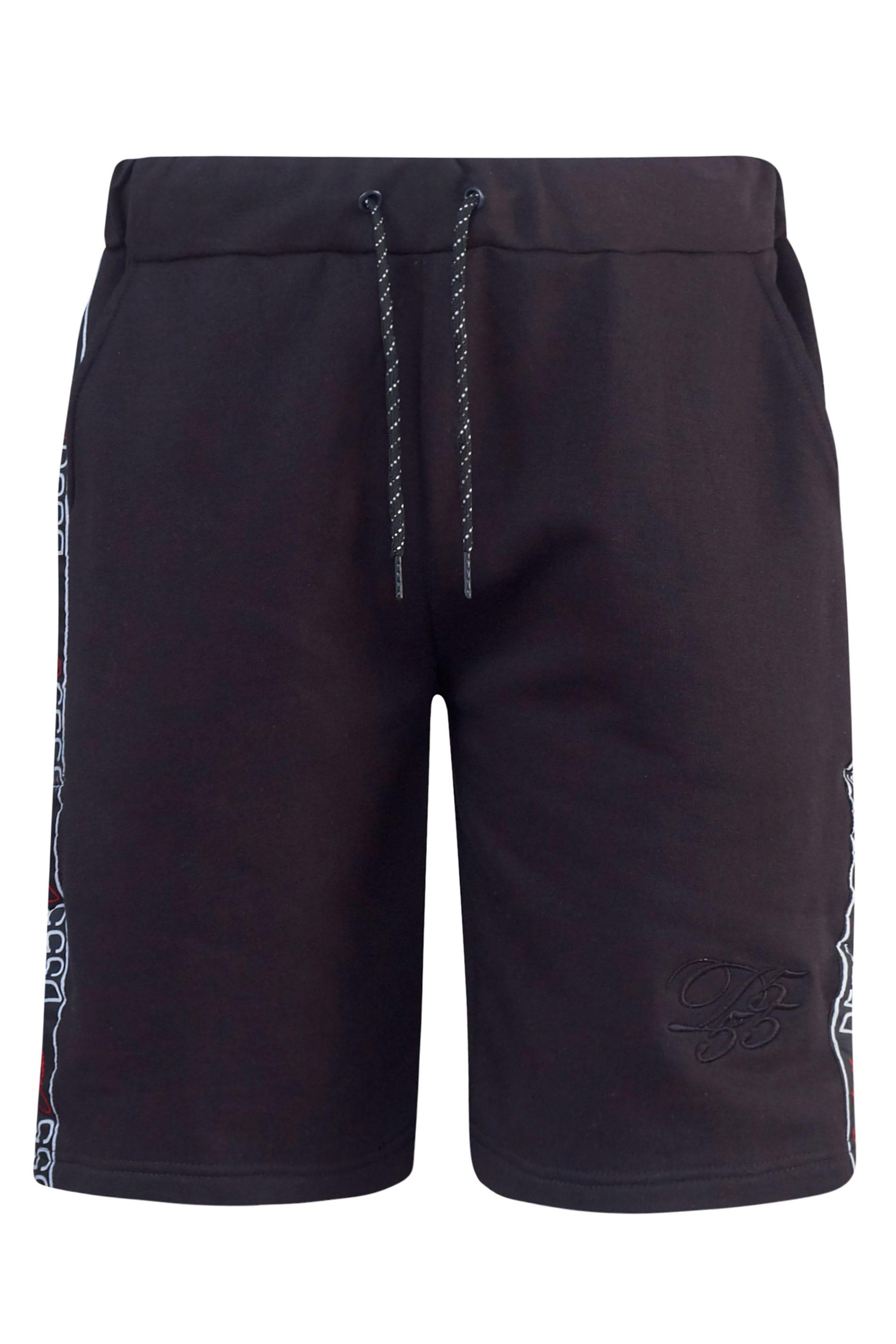 D555 Black Jersey Logo Tape Jogger Shorts