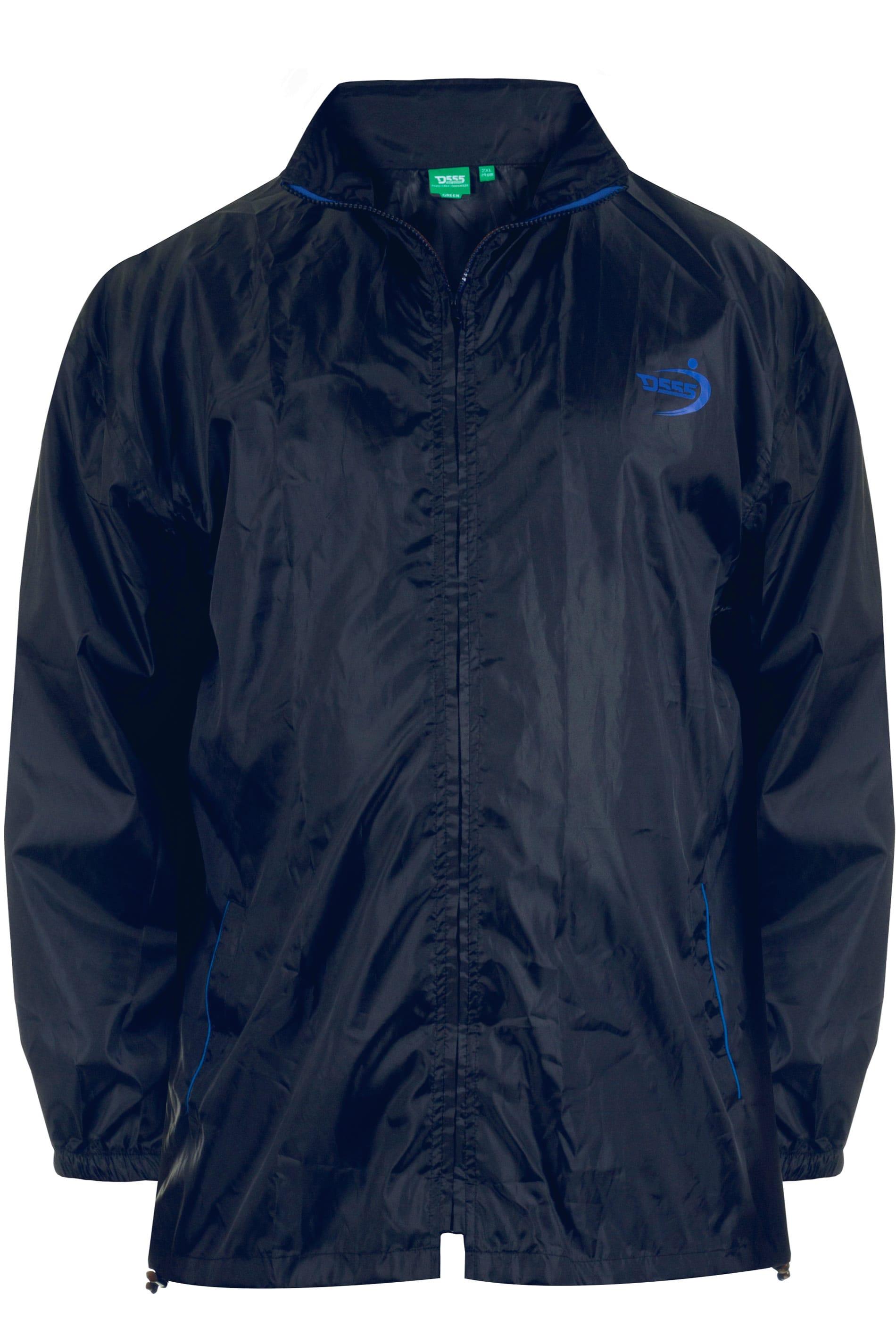 D555 Black & Navy Foldaway Waterproof Jacket
