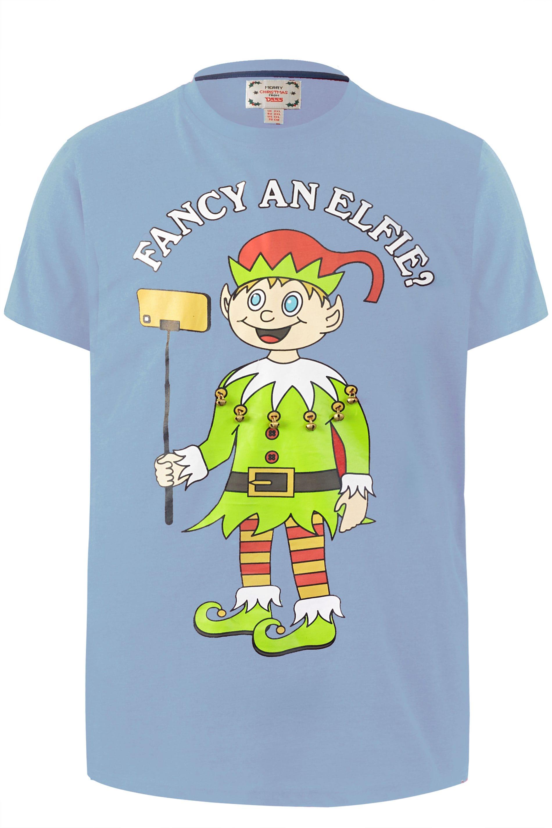 D555 Blue Elfie Christmas T-Shirt