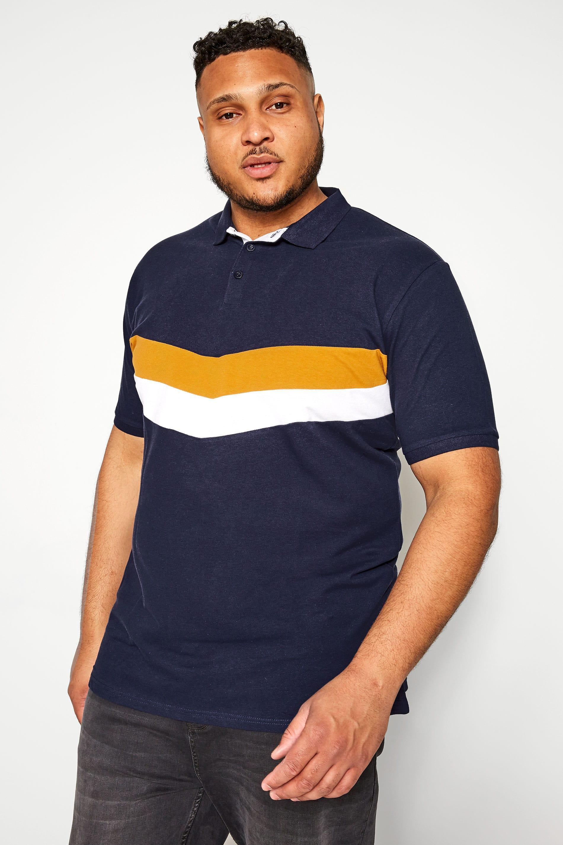 D555 Couture Navy Chevron Colour Block Polo Shirt