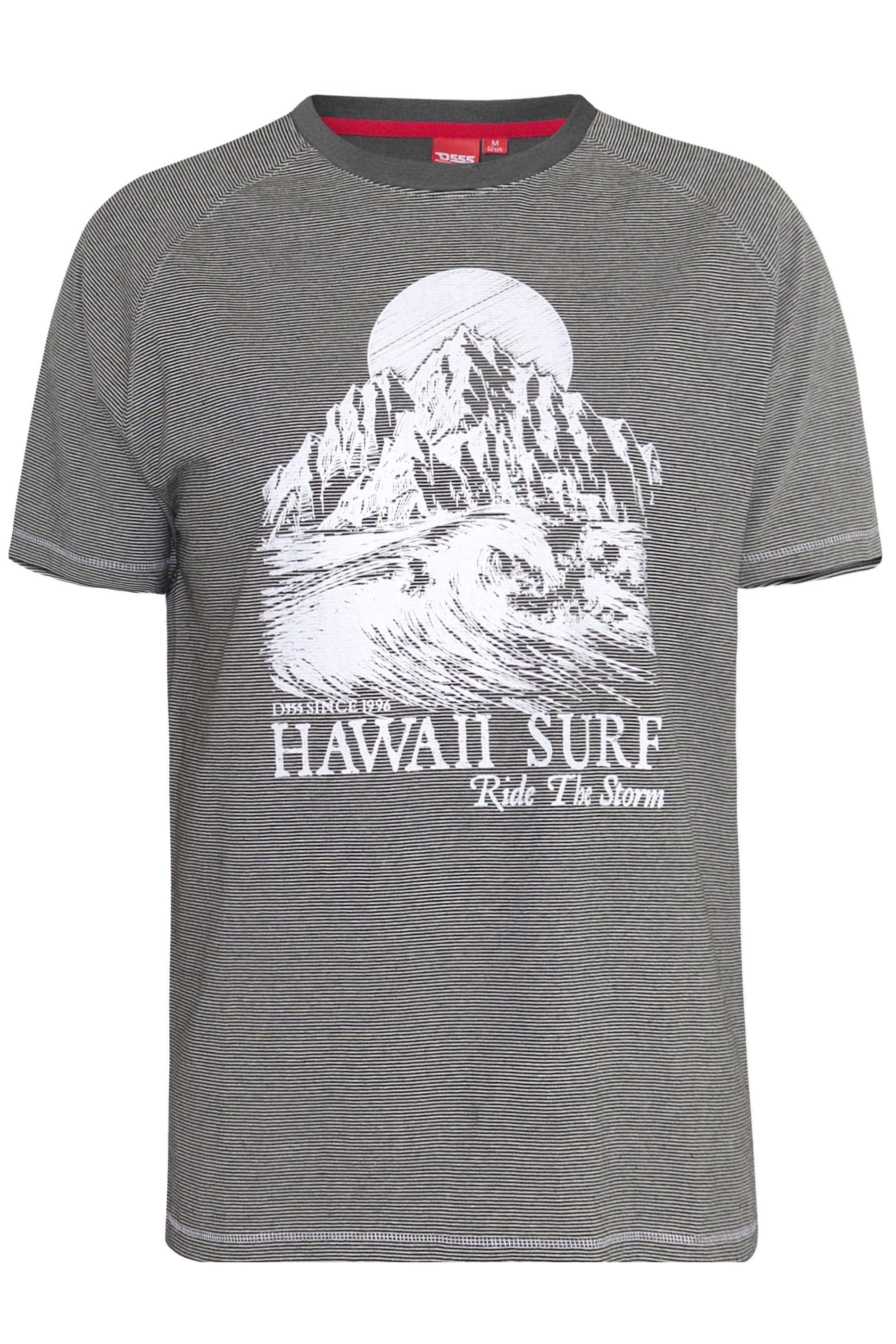 D555 Grey Fine Stripe Hawaii Graphic Print T-Shirt