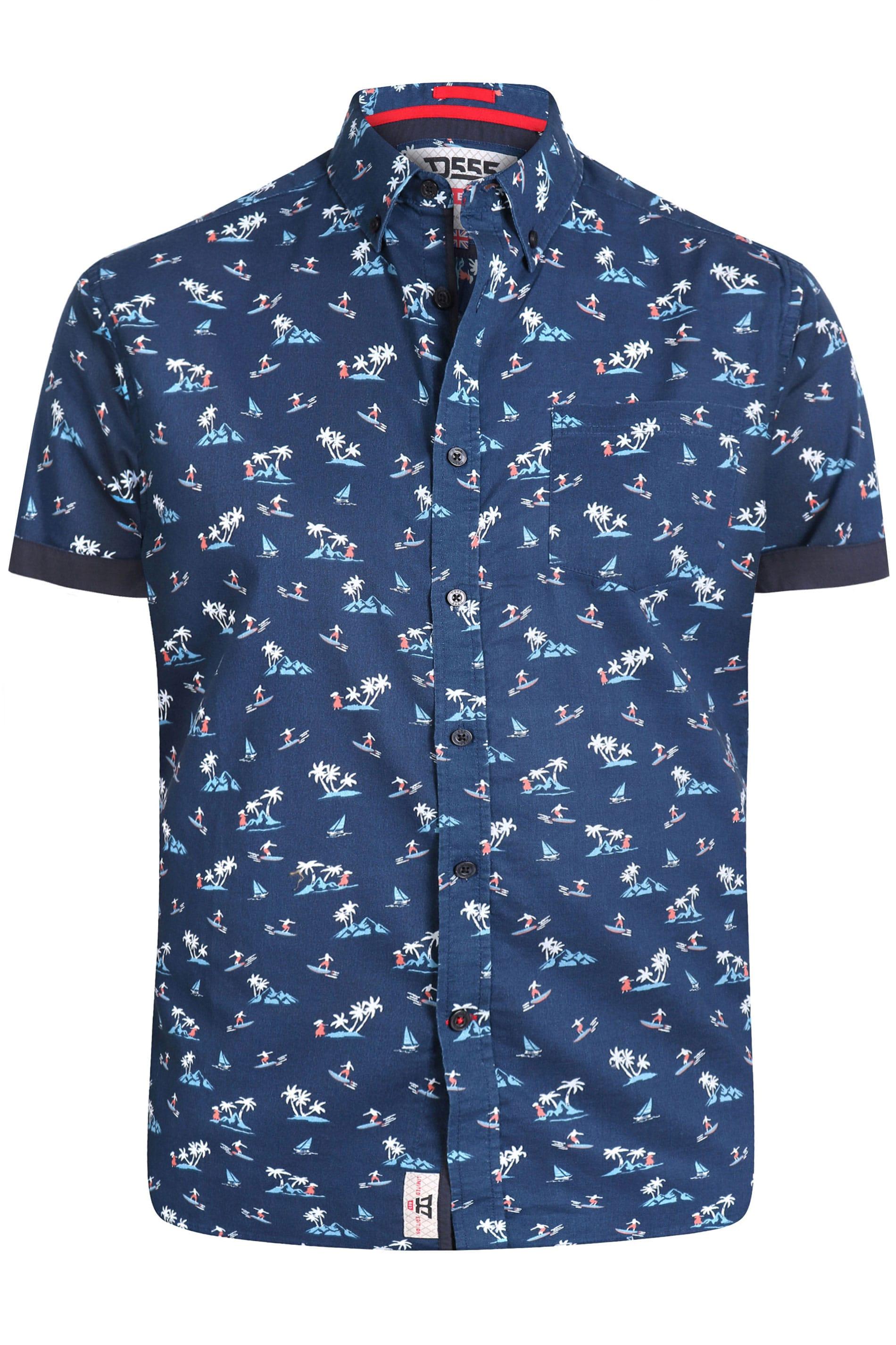 D555 Navy Hawaiian Surf Print Shirt