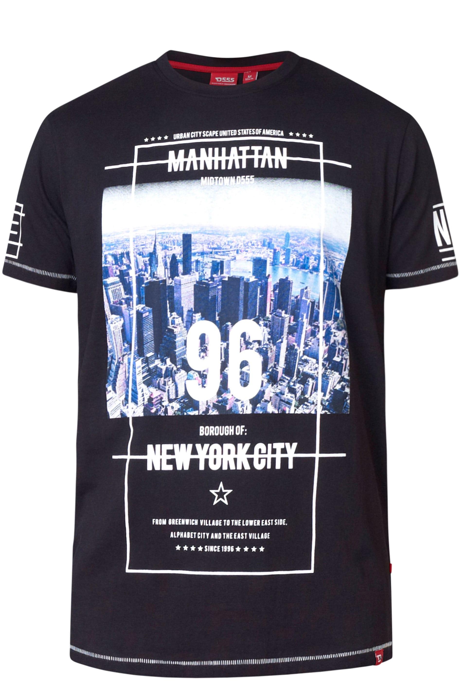 D555 Black NYC Slogan Graphic T-Shirt