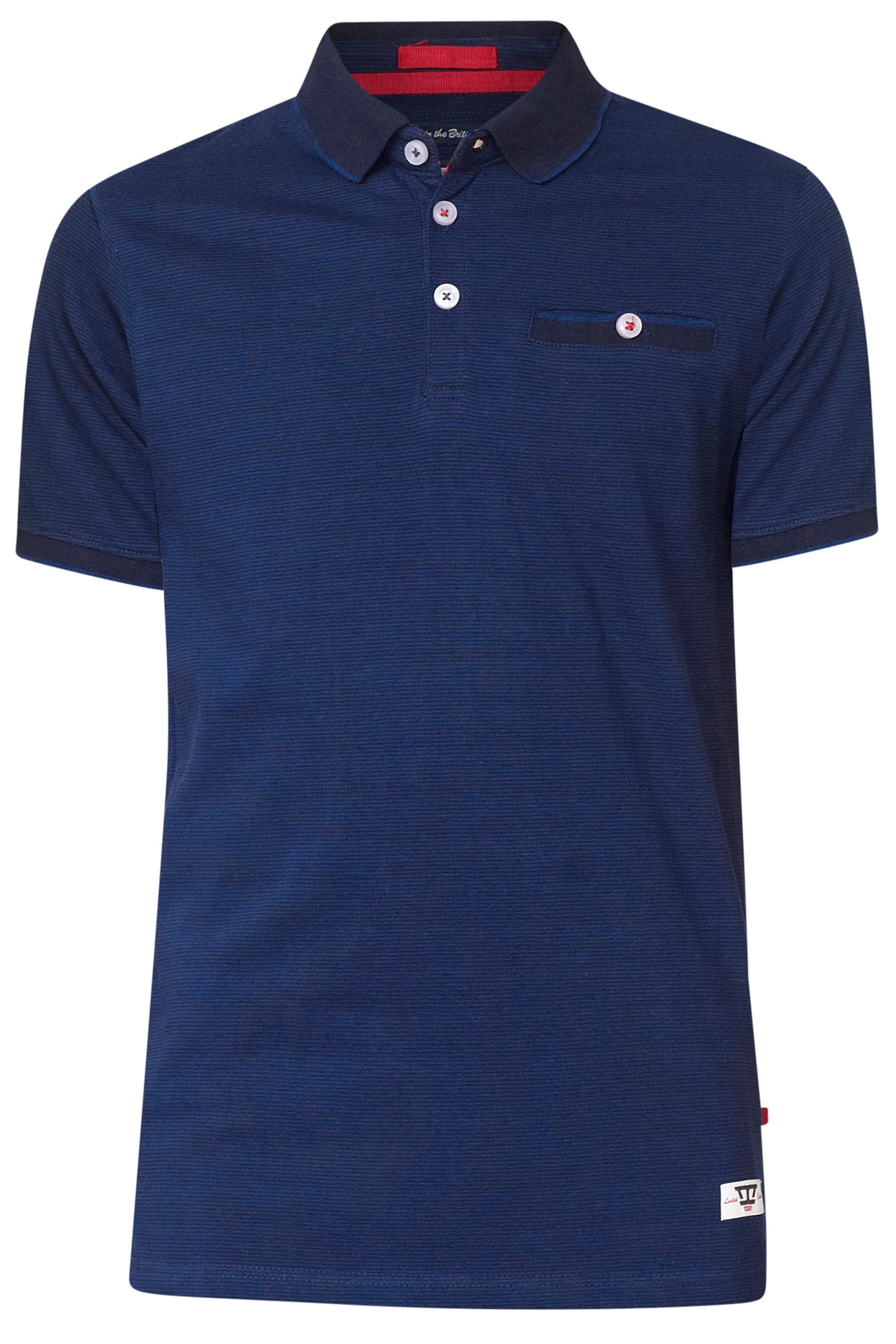 D555 Navy Fine Stripe Polo Shirt