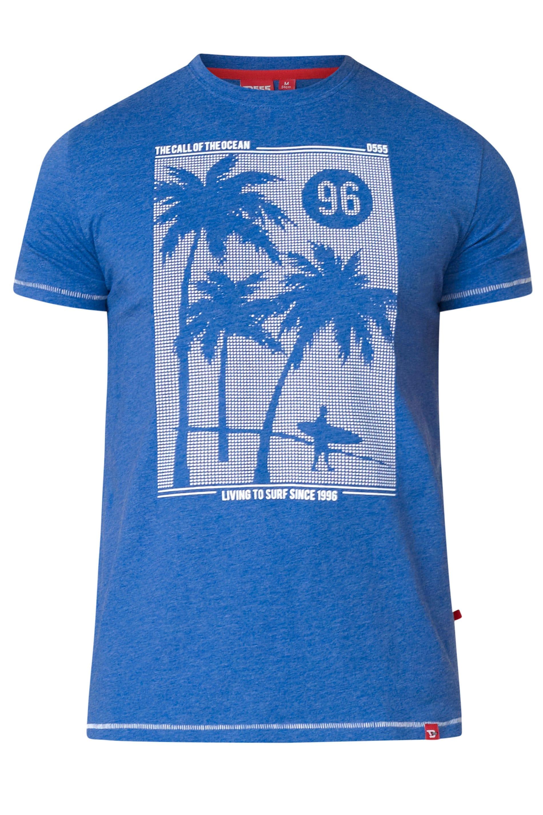 D555 Blue Marl Palm Tree Graphic Print T-Shirt