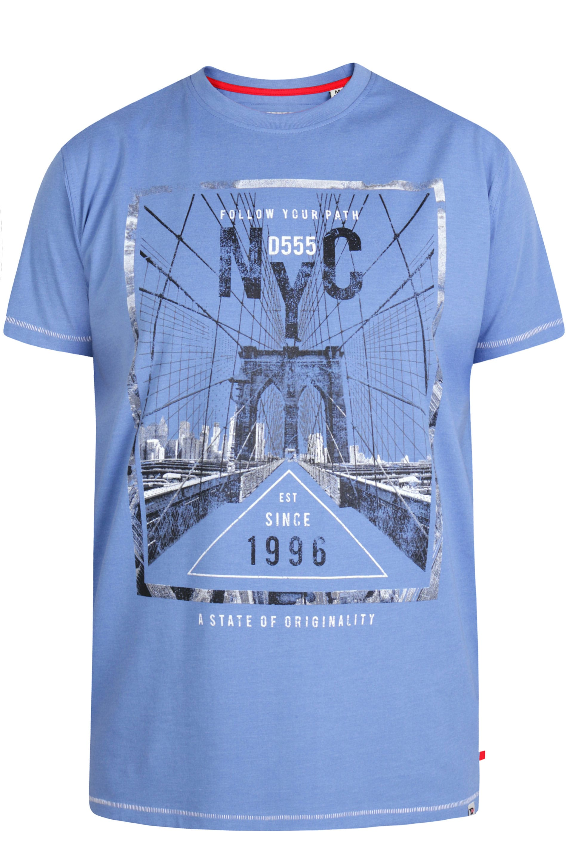 D555 Blue 'NYC' Slogan T-Shirt