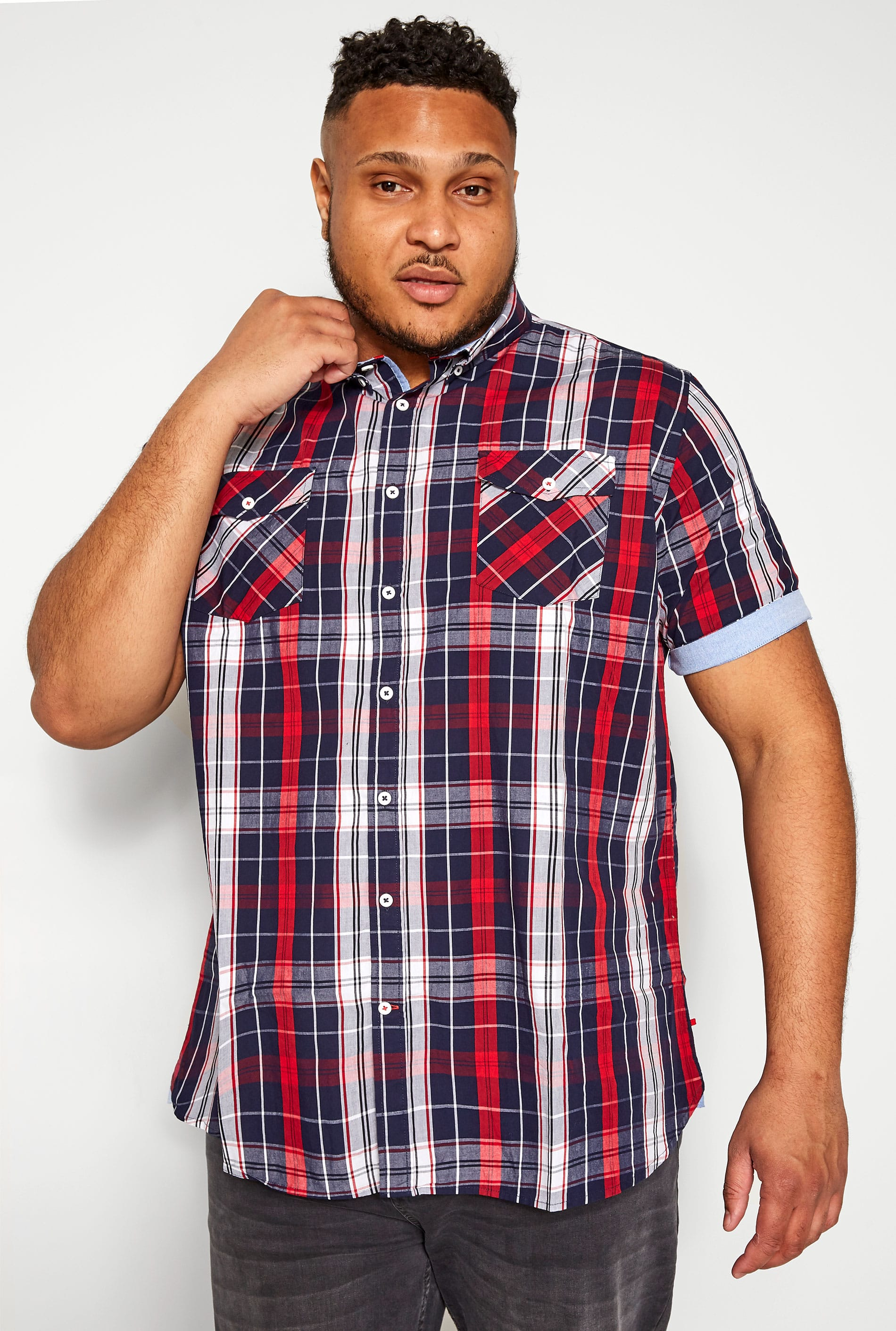 D555 Red & Navy Check Shirt
