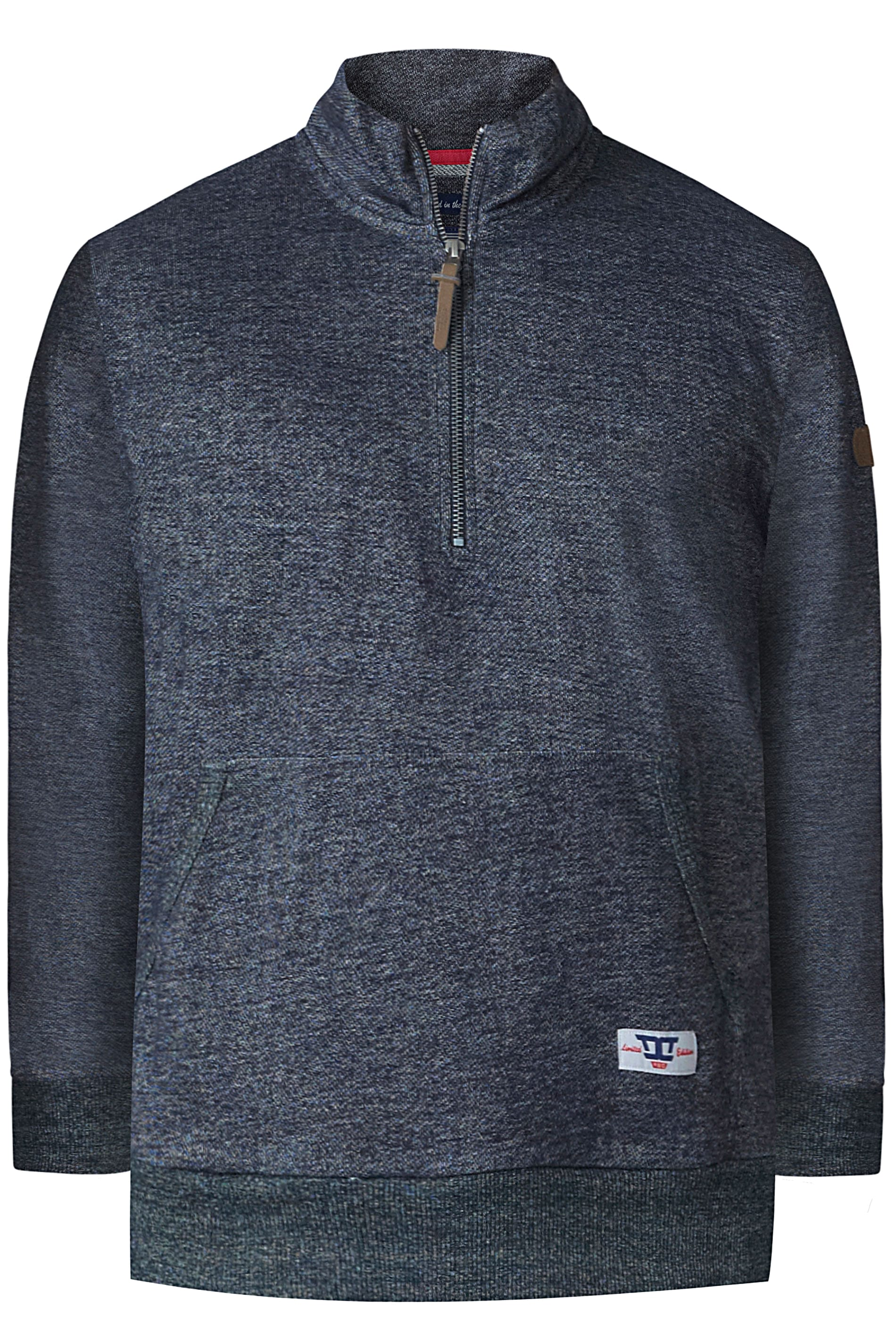 D555 Blue Grey Funnel Neck Sweater