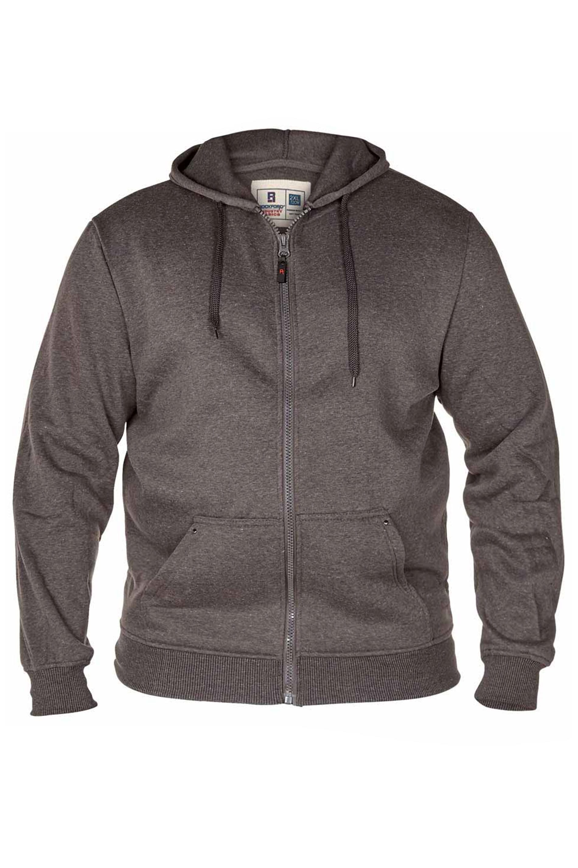 D555 Rockford Grey Cantor Zip Through Hoodie