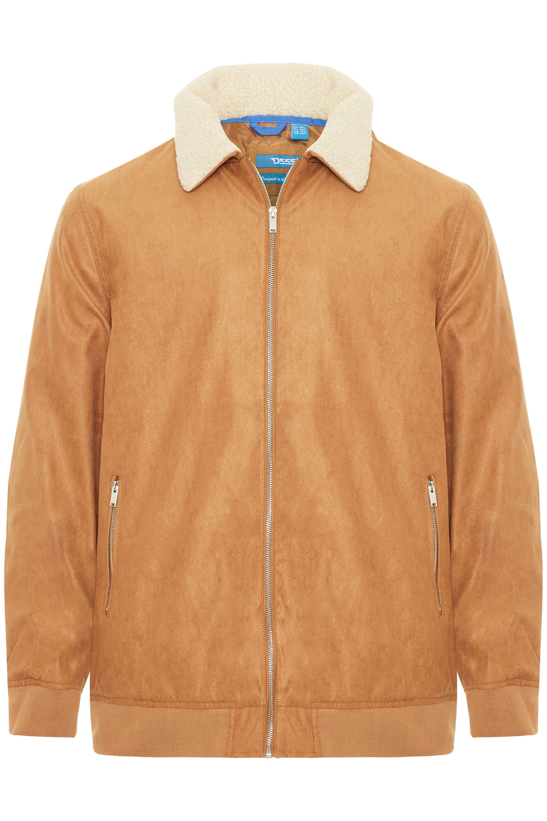 D555 Tan Padded Faux Suede Bomber Jacket