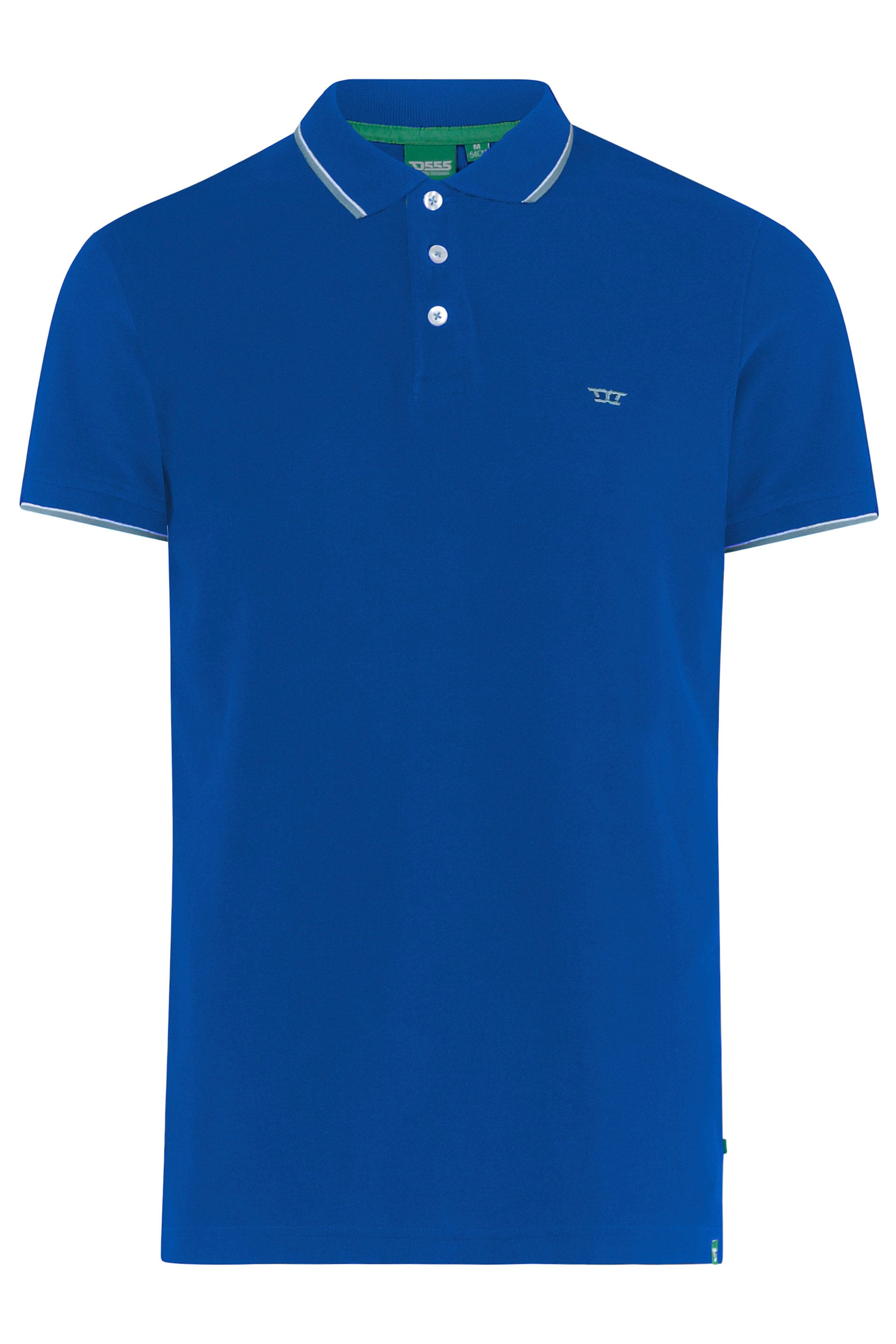 D555 Royal Blue Tipped Polo Shirt
