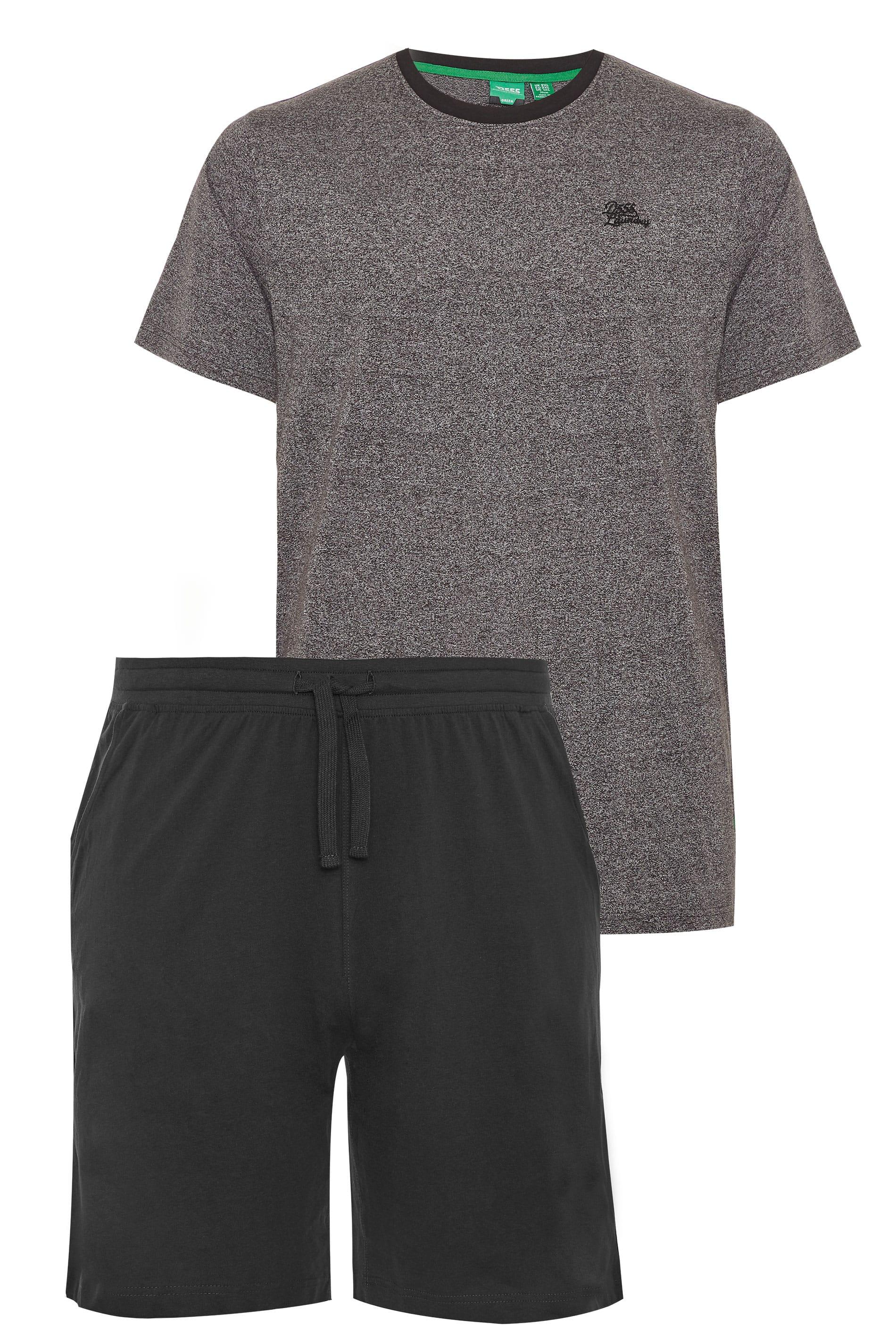 D555 Grey & Black T-Shirt & Shorts Loungewear Set