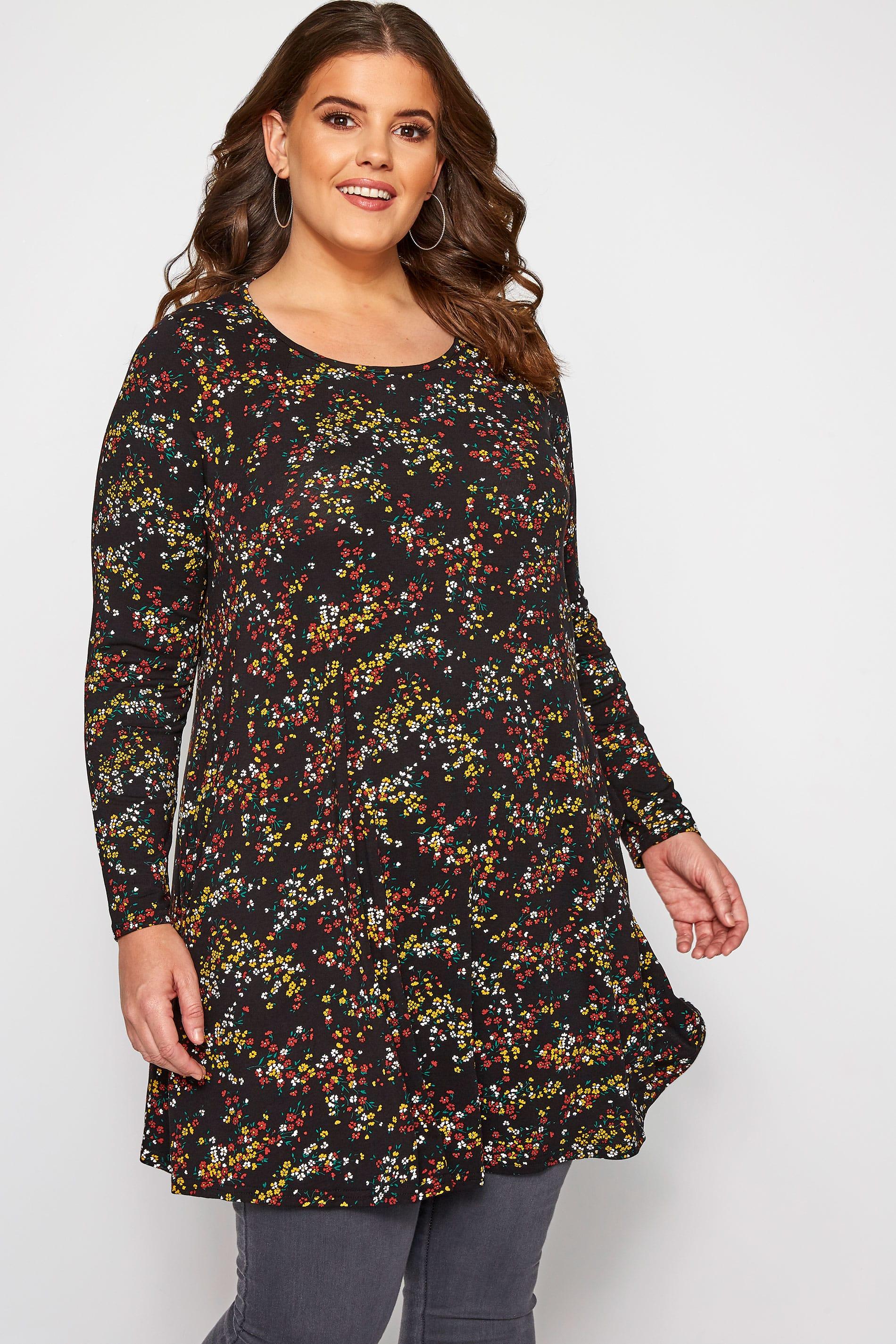 Black Ditsy Floral Drop Pocket Jersey Tunic