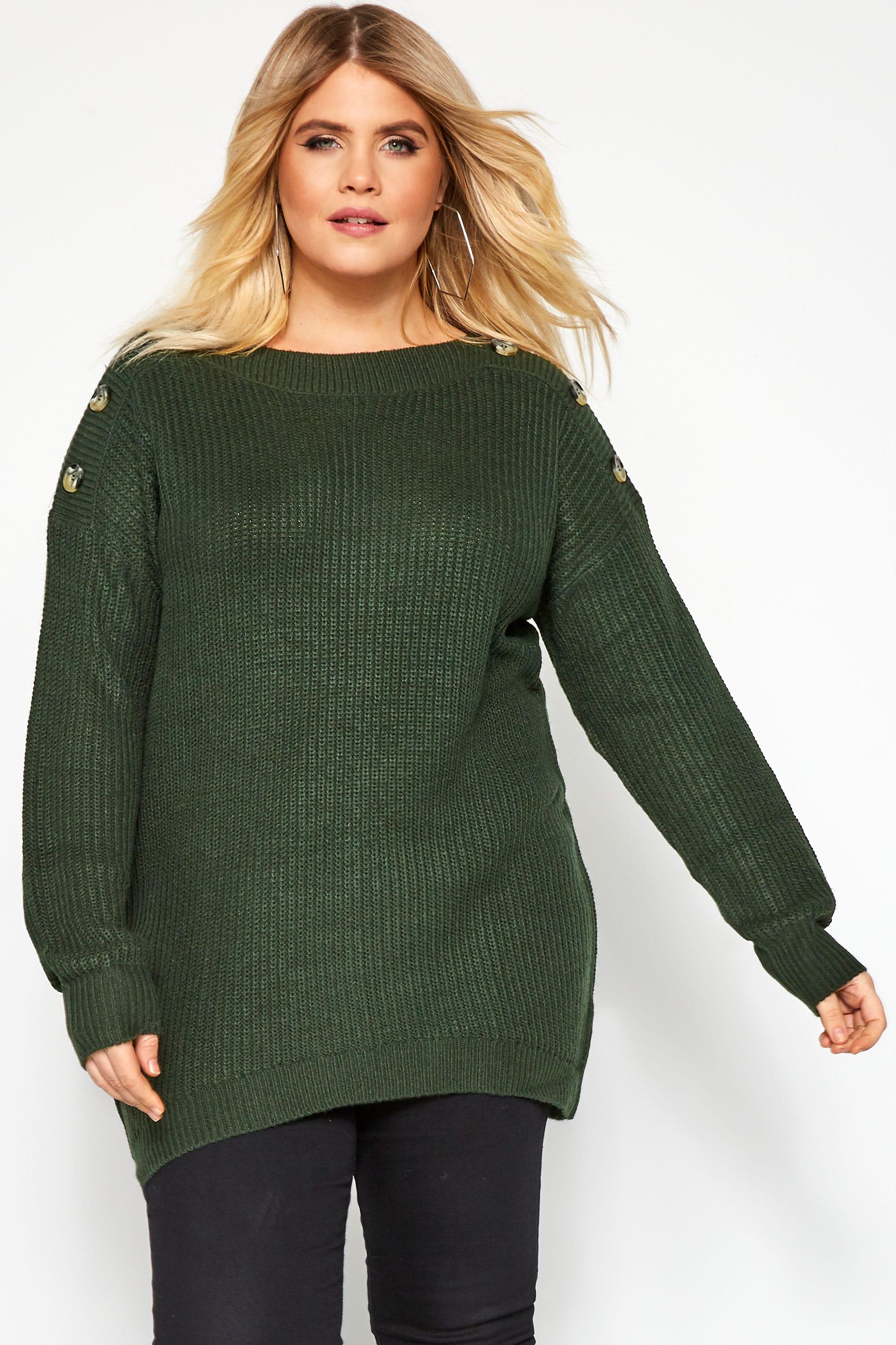 Dark Green Horn Button Knitted Jumper