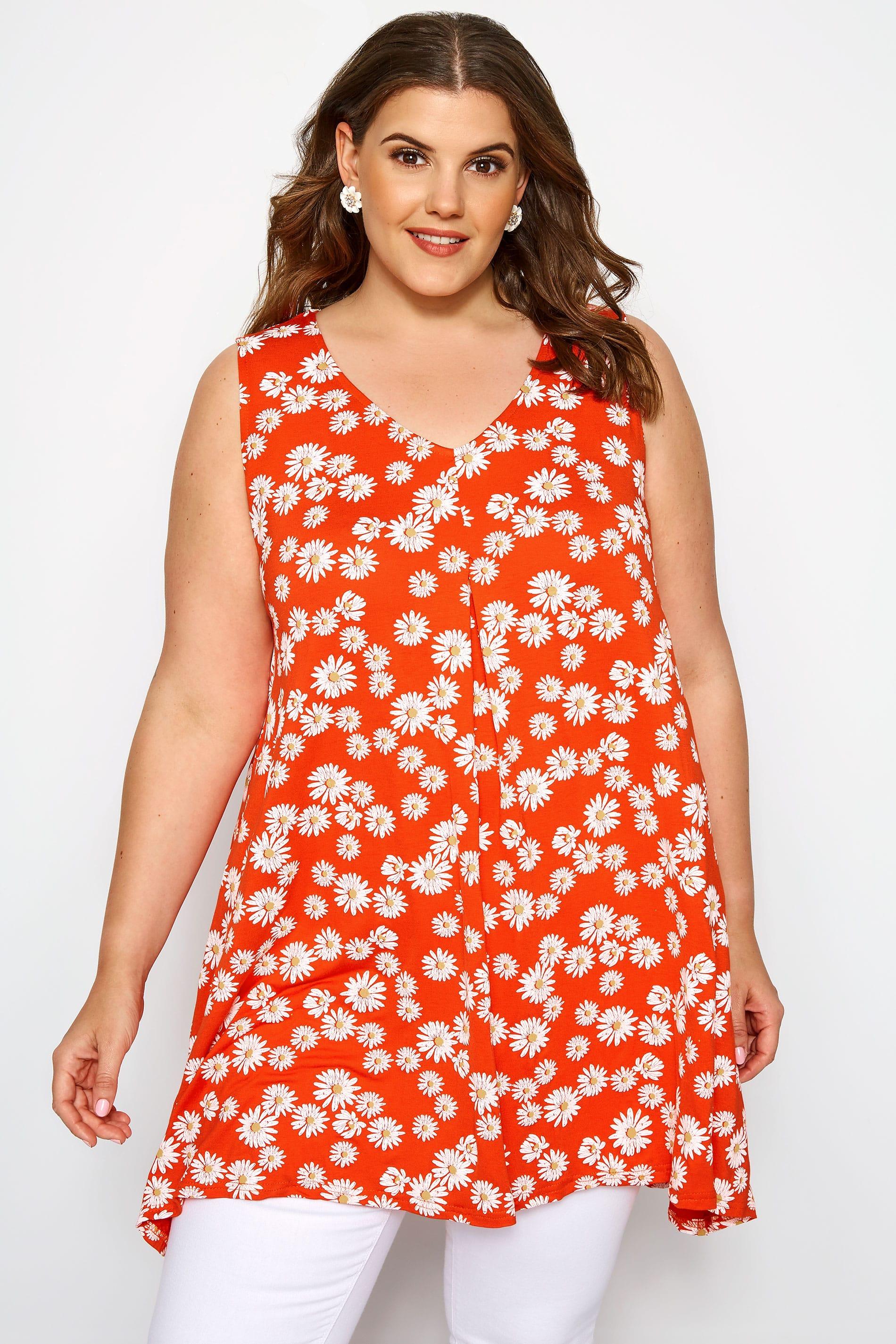 Dark Orange Floral Daisy Swing Vest Top