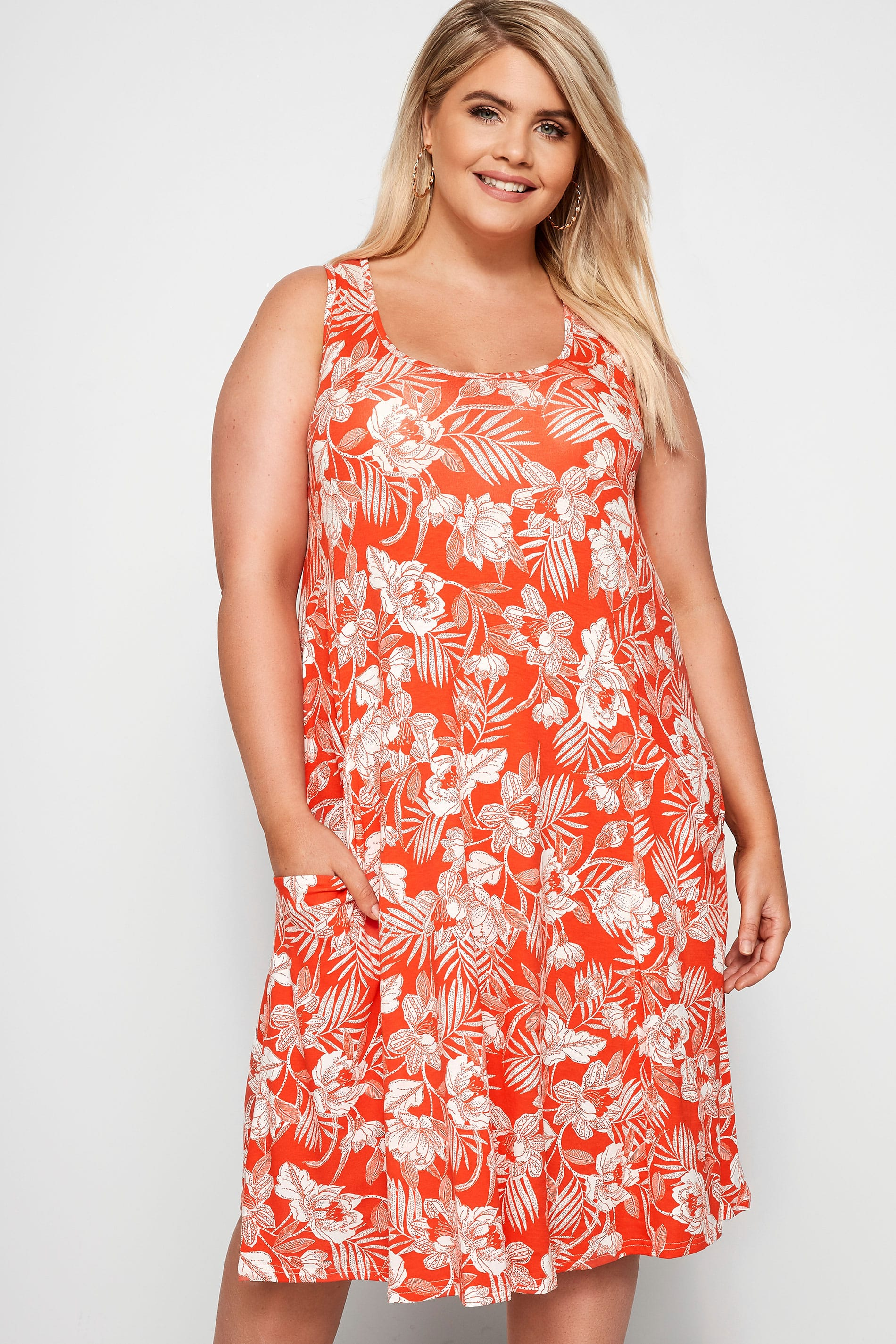 Dark Orange Floral Drape Pocket Dress