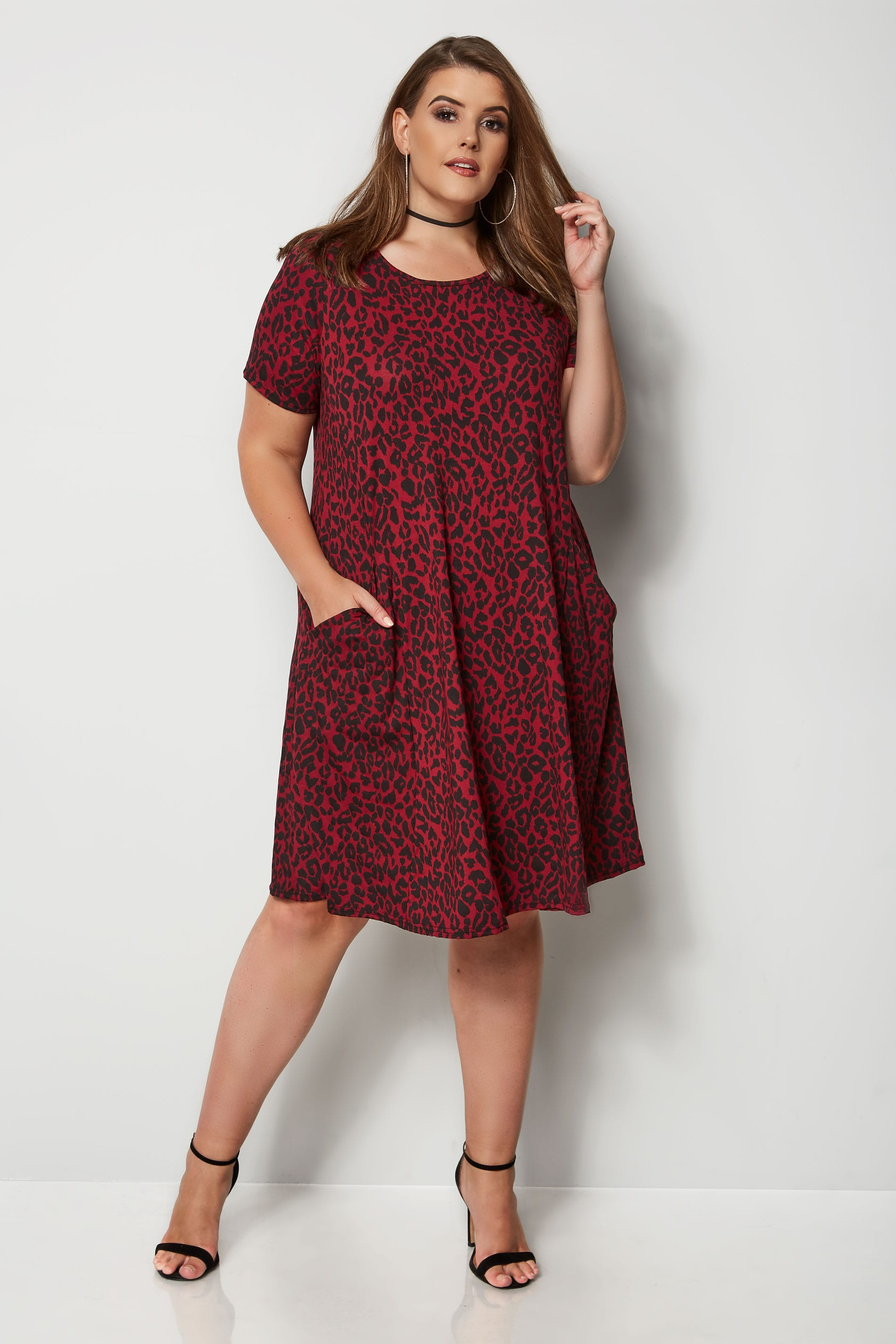 Dark Red Animal Print Drape Pocket Dress, Plus size 16 to 36