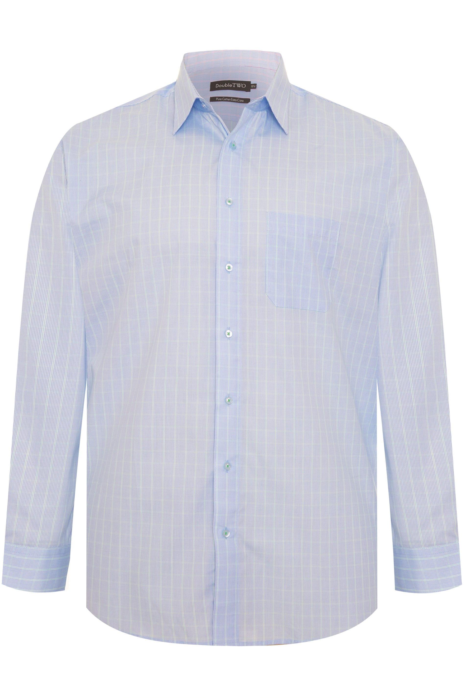 DOUBLE TWO Blue & Green Check Non-Iron Long Sleeve Shirt