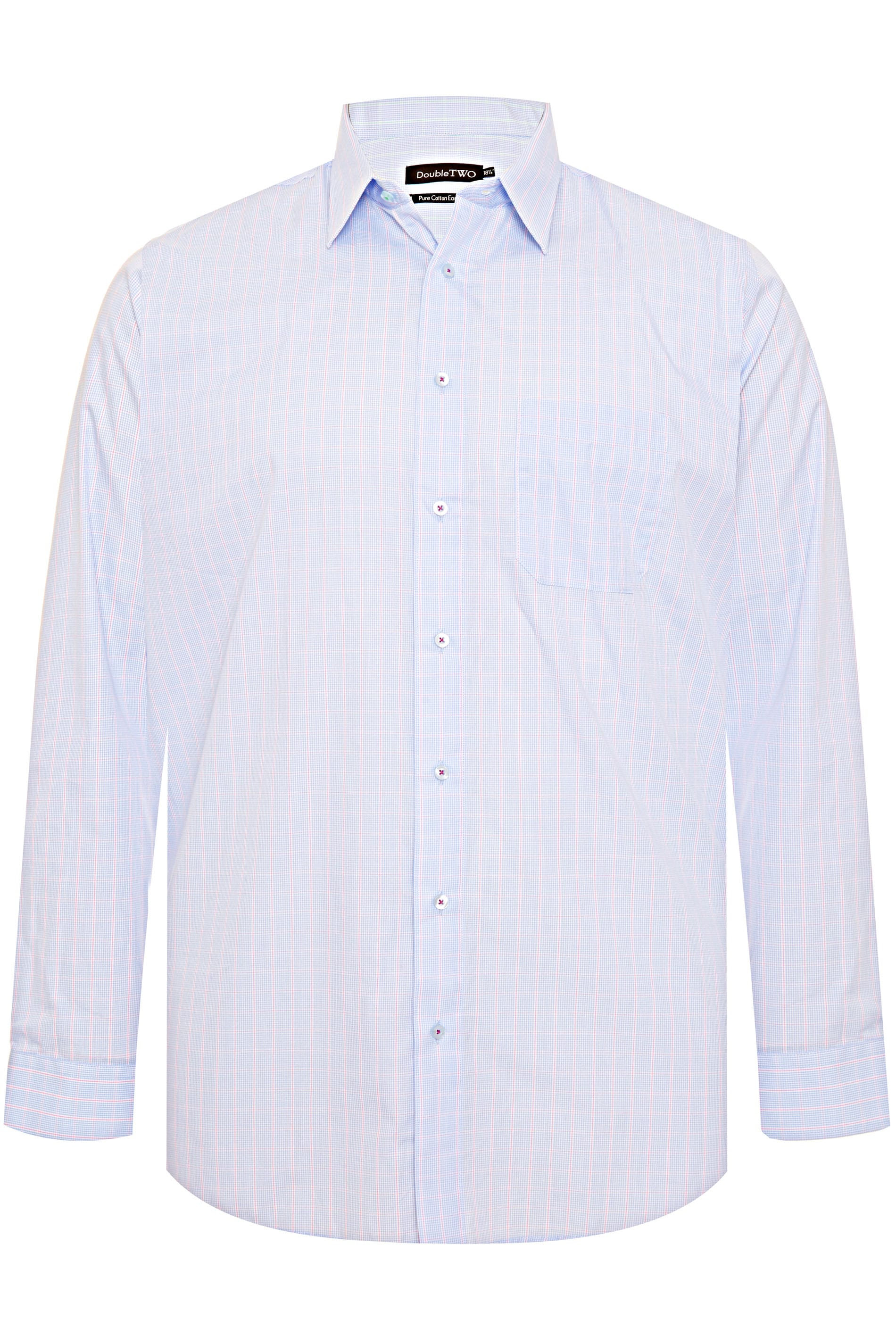 DOUBLE TWO Blue & Red Check Non-Iron Long Sleeve Shirt