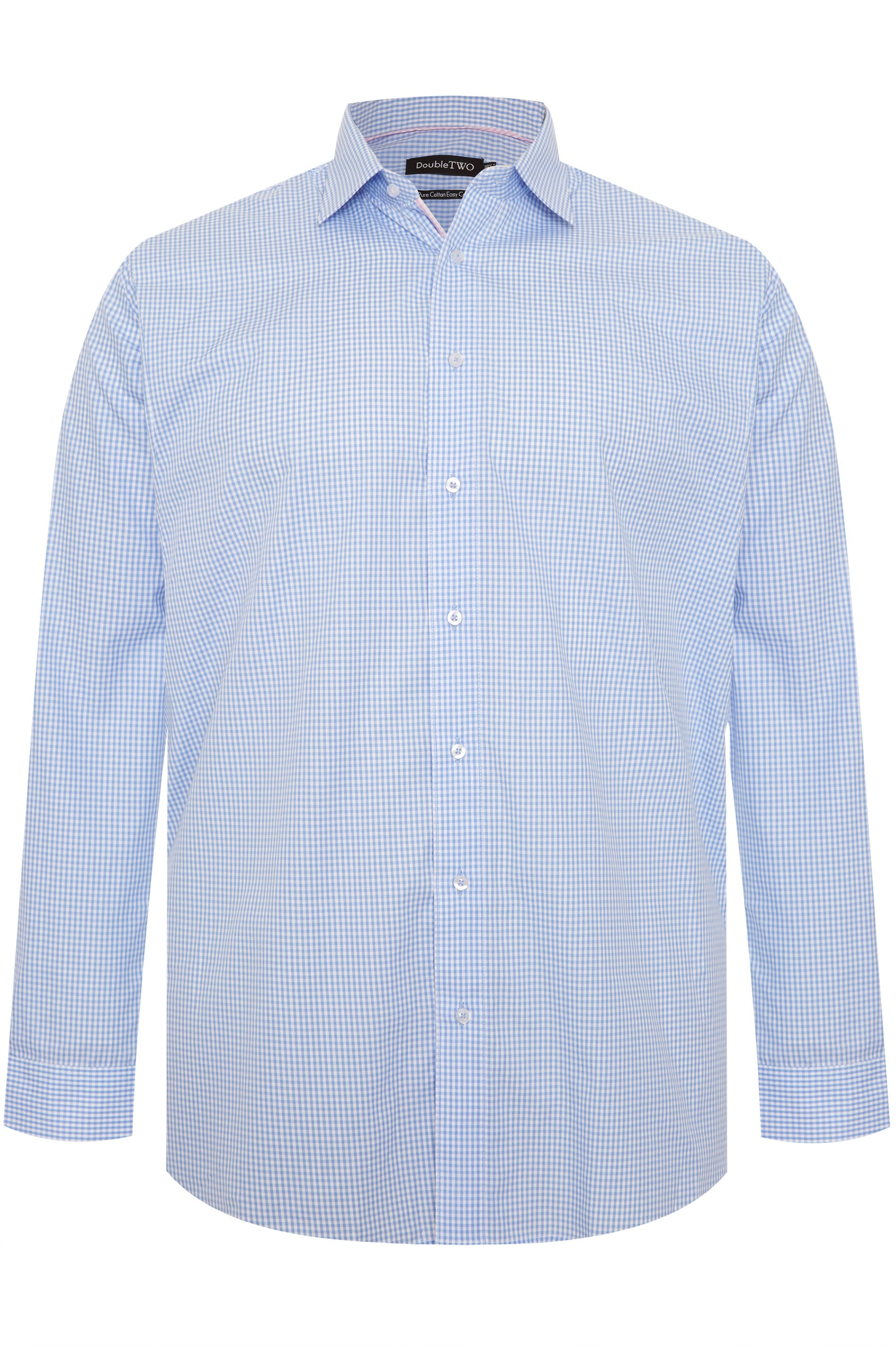 DOUBLE TWO Sky Blue Gingham Check Non-Iron Long Sleeve Shirt