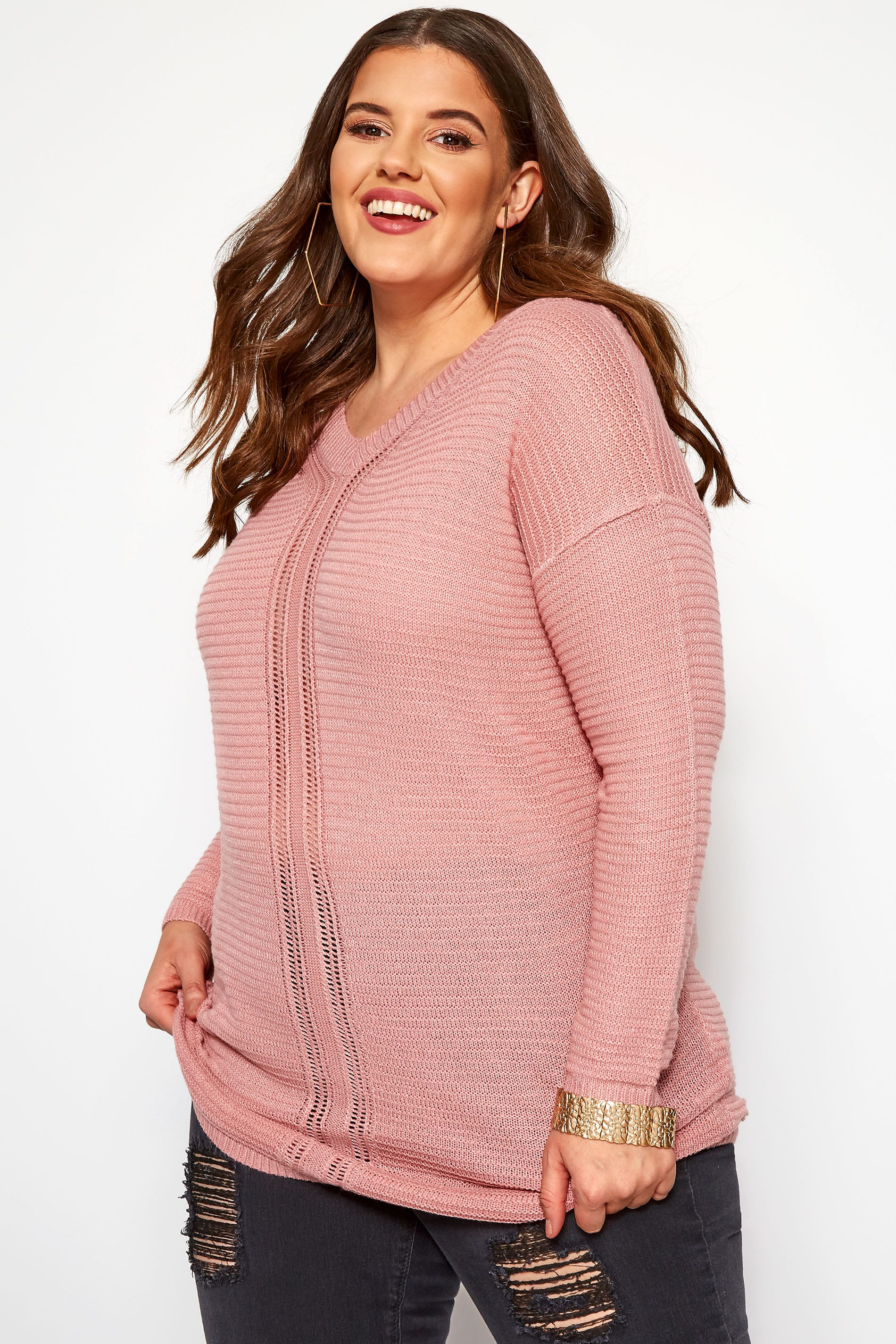 Dusty Pink Pointelle Jumper