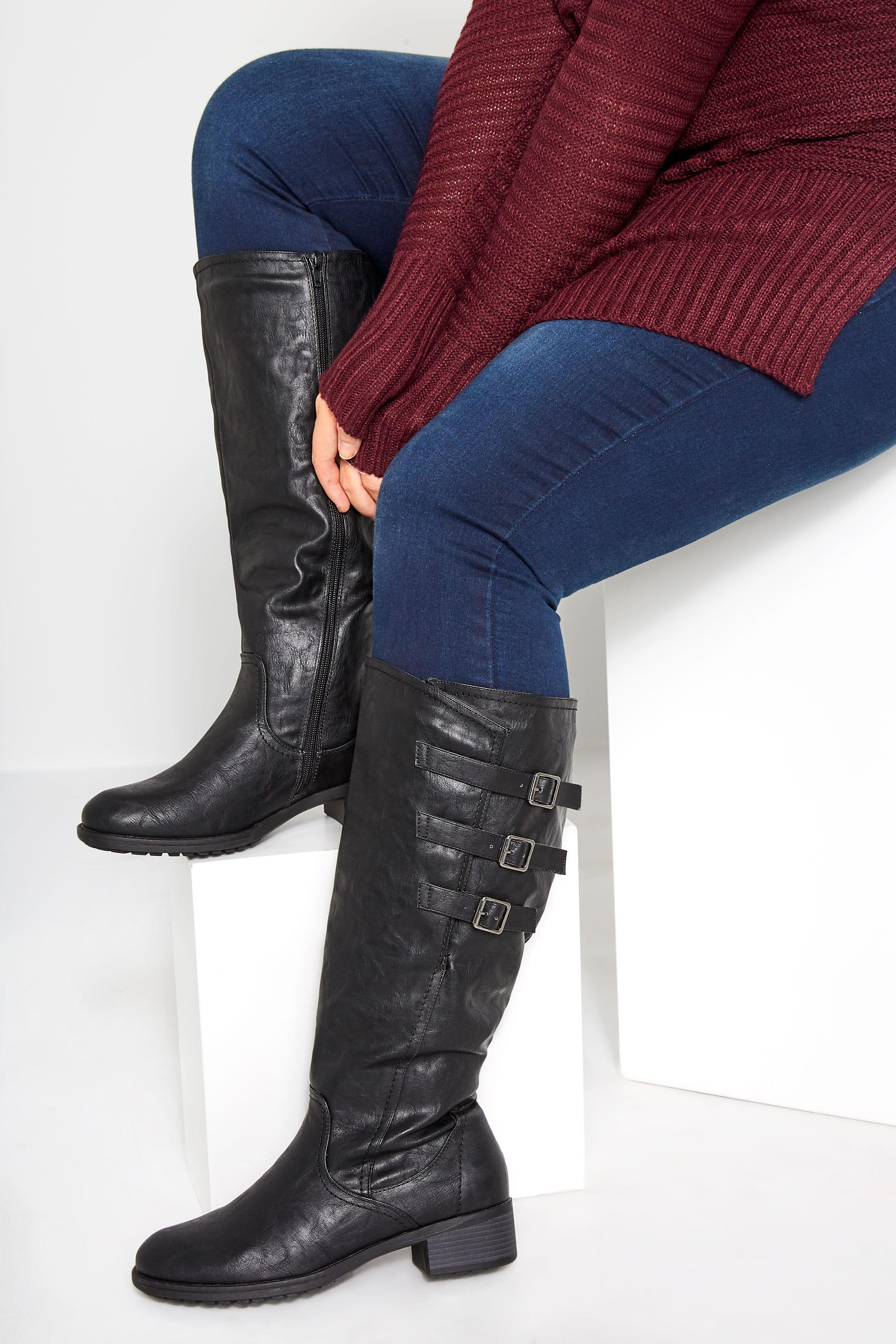 Black Knee High Boots In Extra Wide Fit With Adjustable Straps
