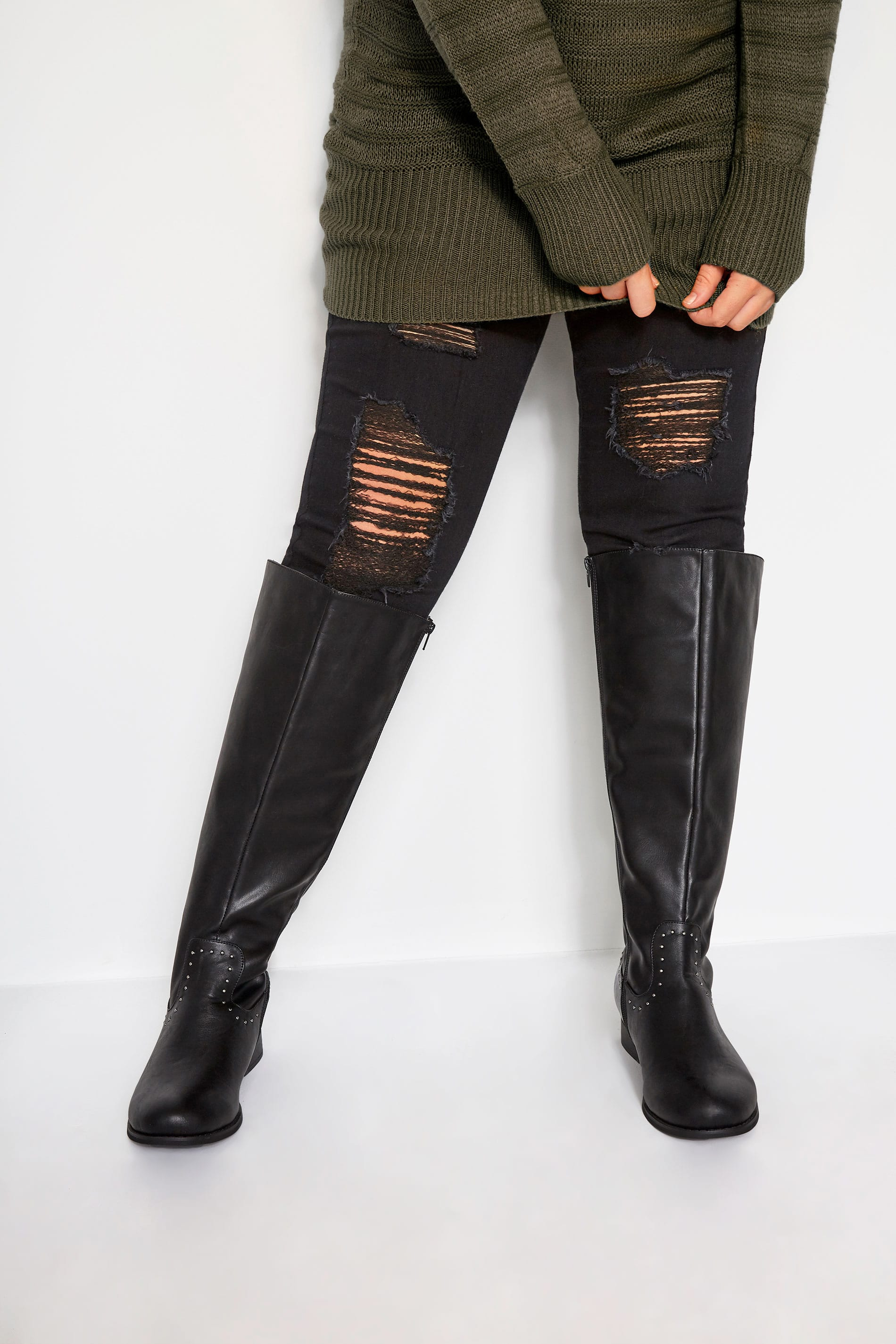 Black Studded Trim Stretch Knee High Boots In Extra Wide Fit