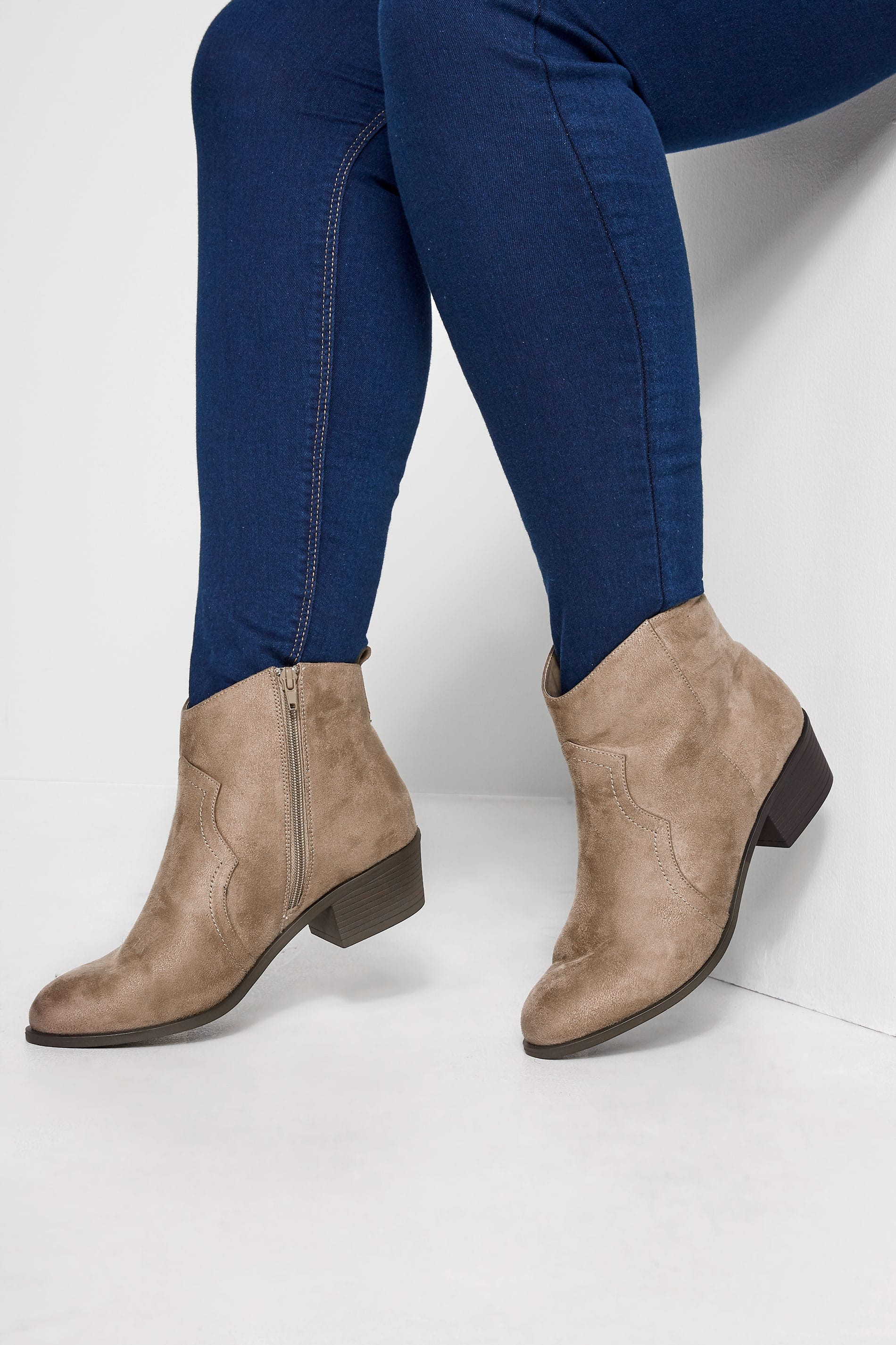 Taupe Western Ankle Boots In Extra Wide Fit