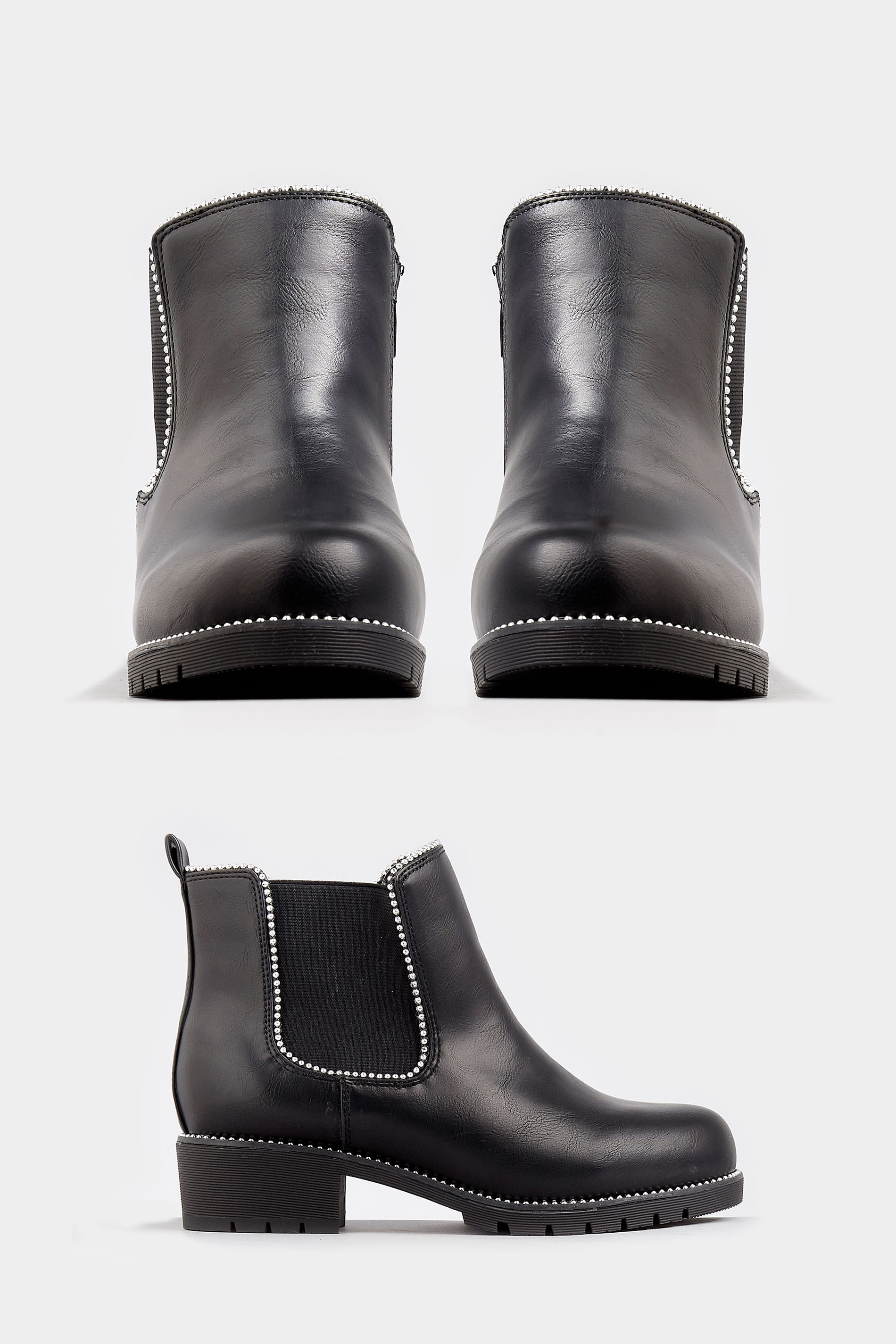Larges Strass EEE à Pieds Bottines Noires eY2IDHWE9b