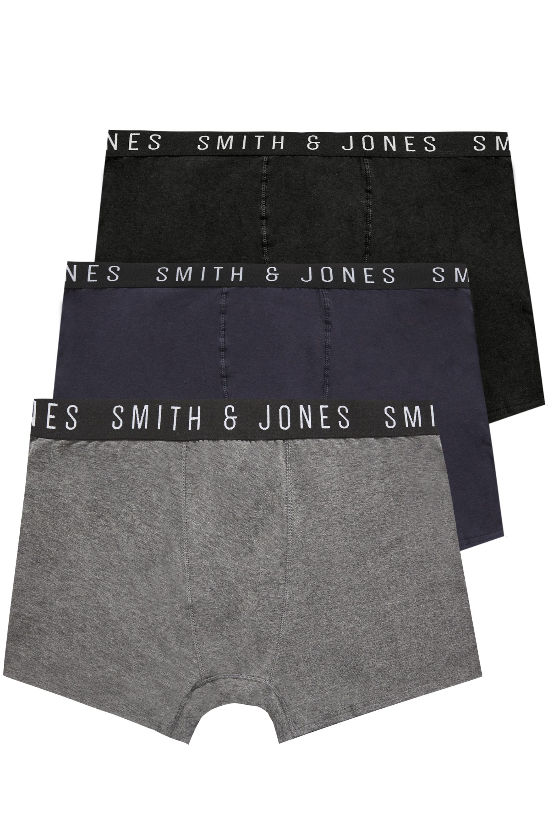 3 PACK SMITH & JONES Essential Elasticated A Front Boxers