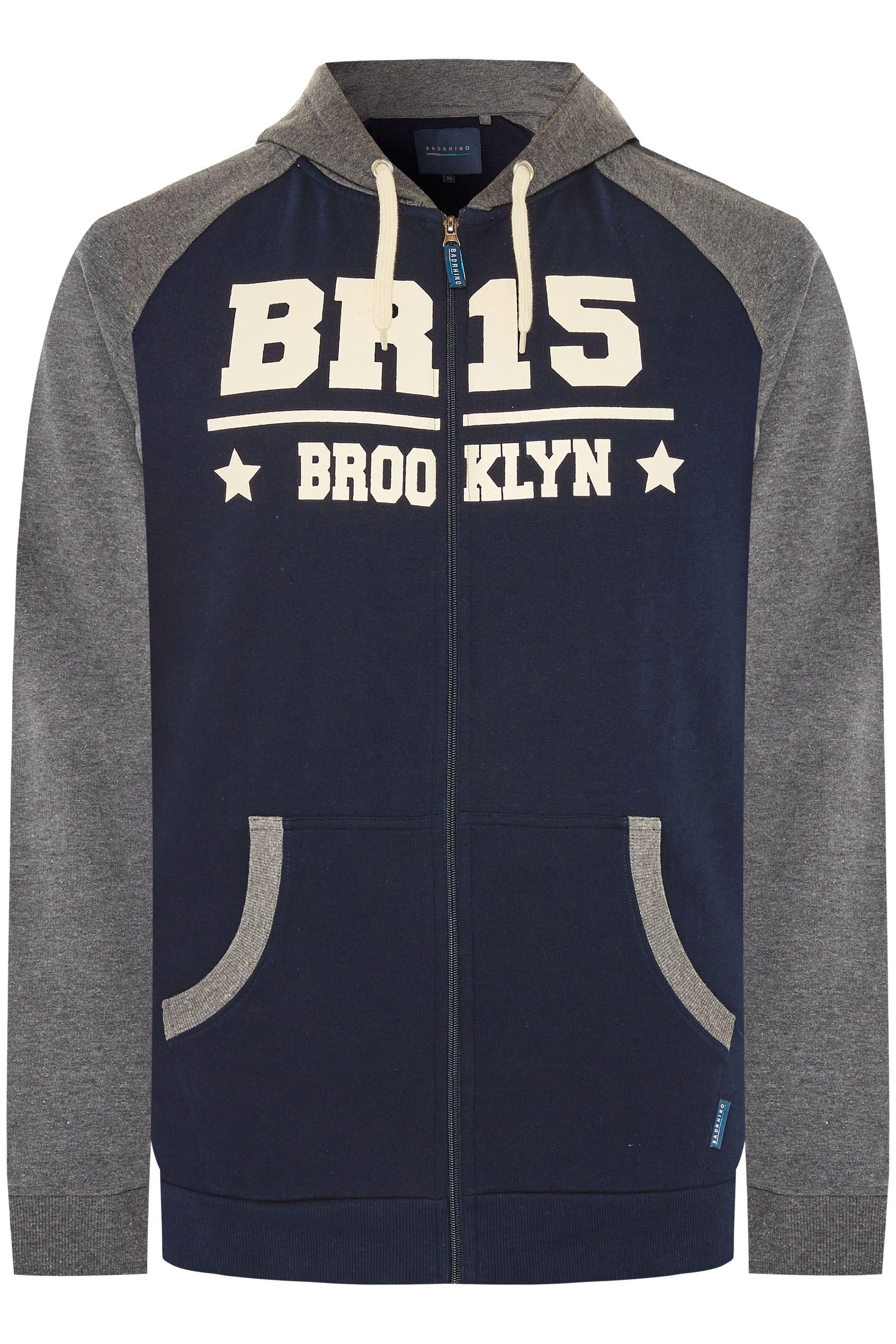 """BadRhino Hoodie-Sweatshirt mit """"Brooklyn""""-Motiv - Blau/Grau"""