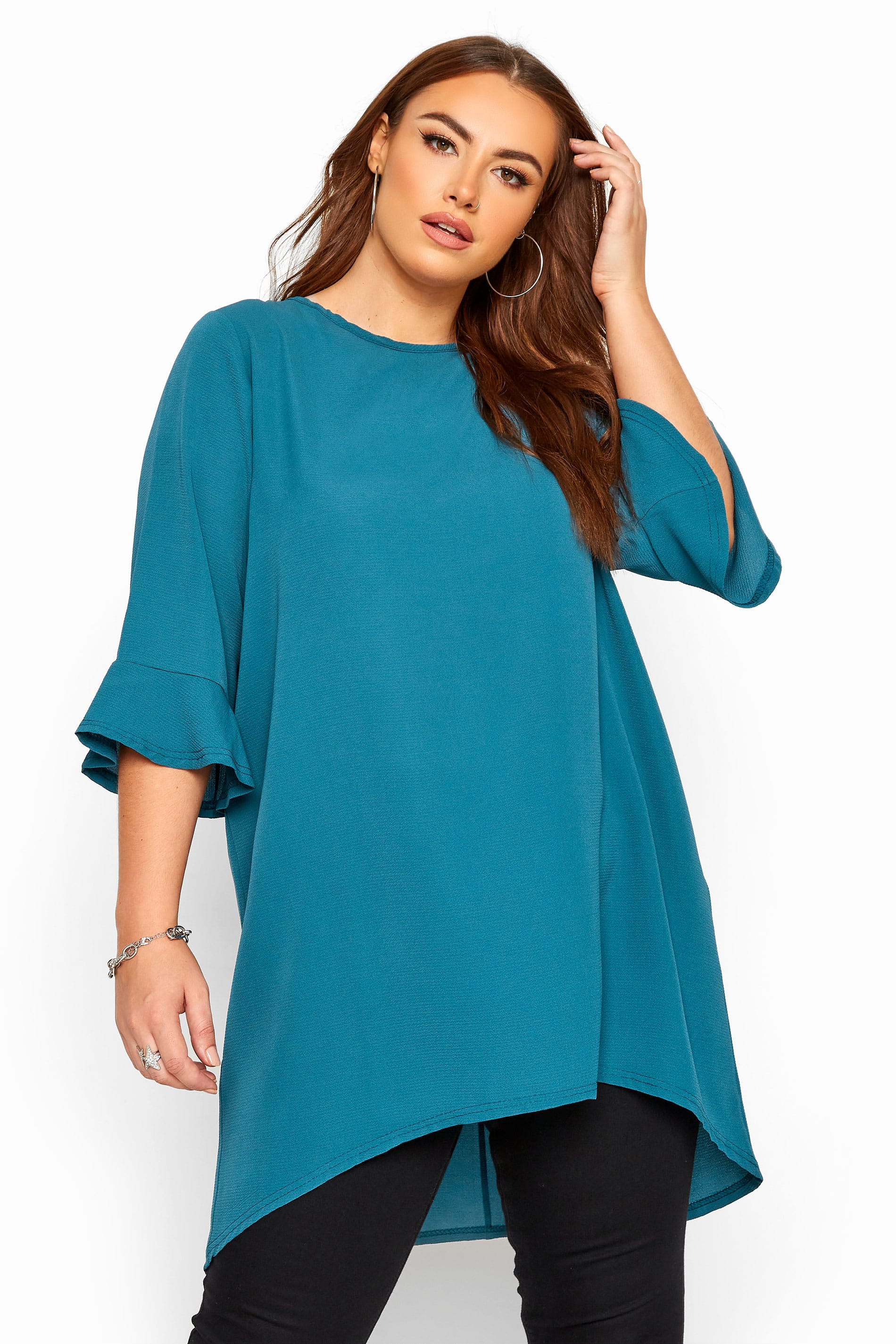 YOURS LONDON Teal Blue Flute Sleeve Tunic