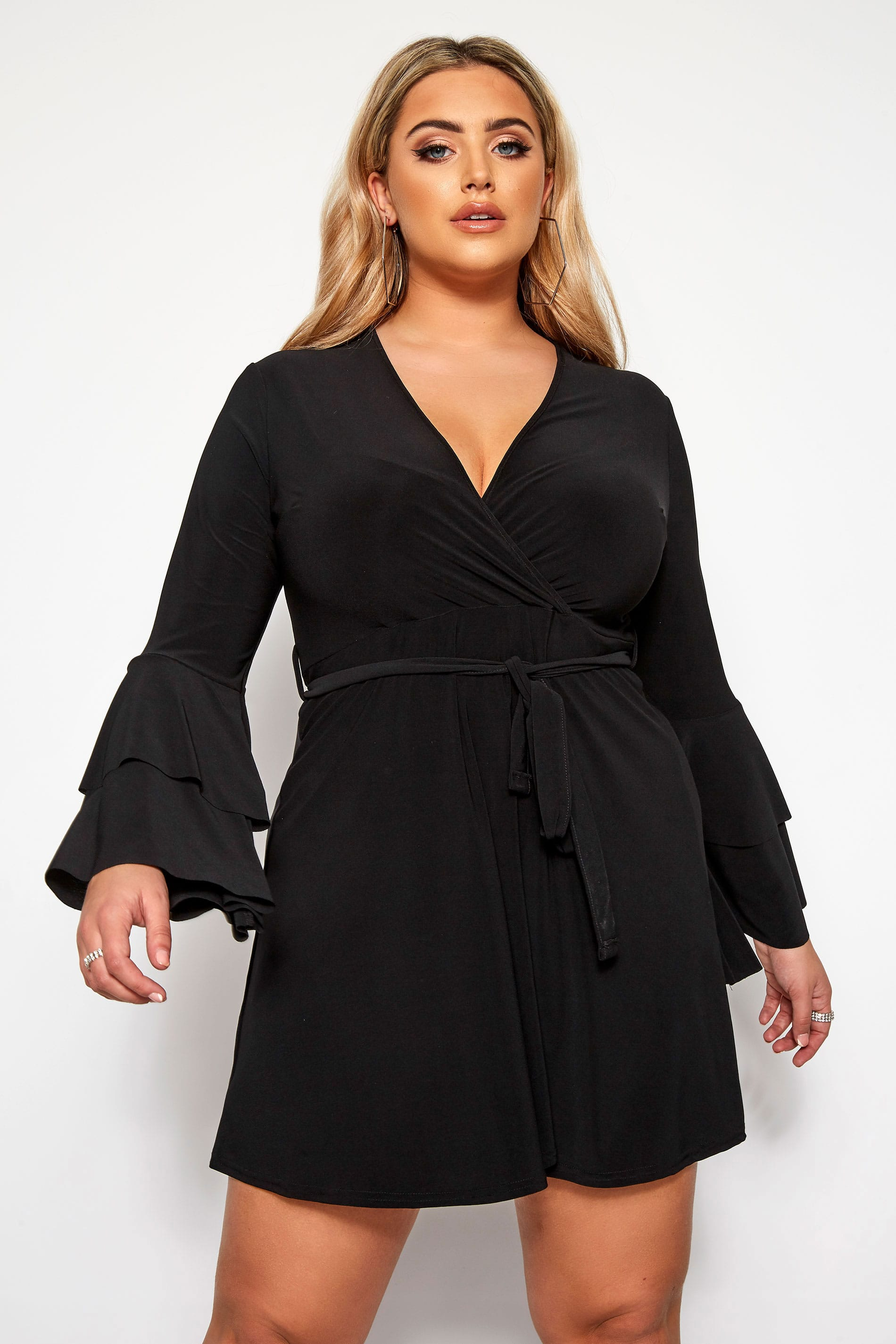 LIMITED COLLECTION Black Frill Sleeve Wrap Dress