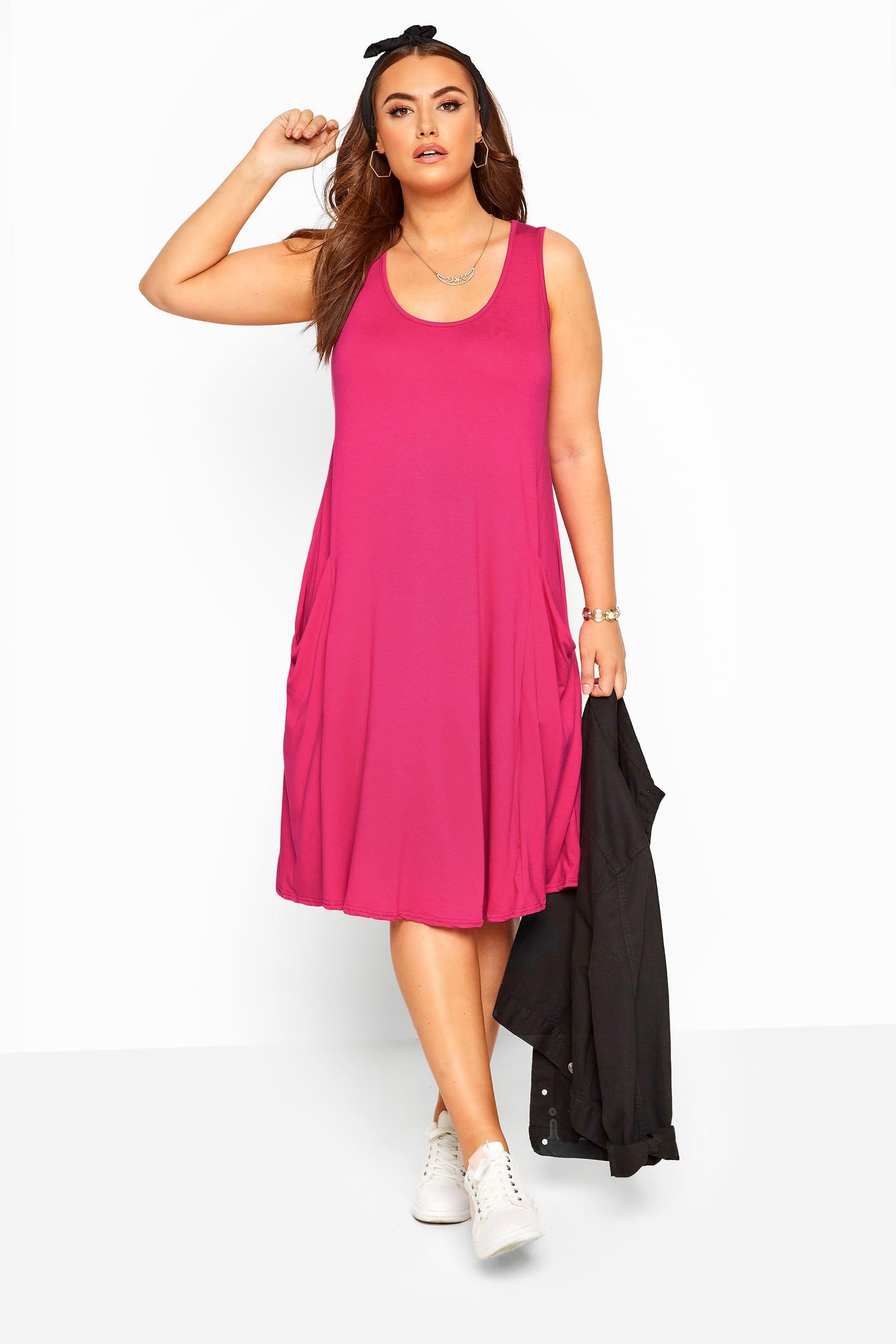kleid mit taschen - hot pink
