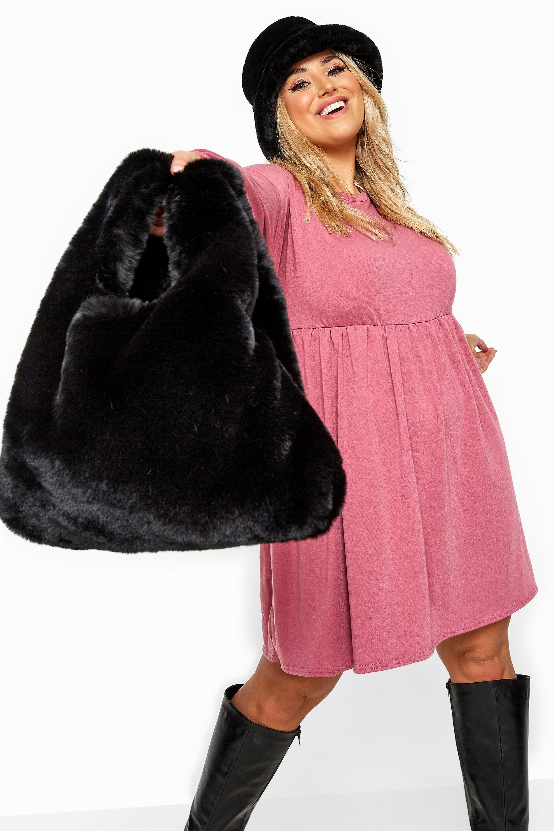 Black Faux Vegan Fur Bag
