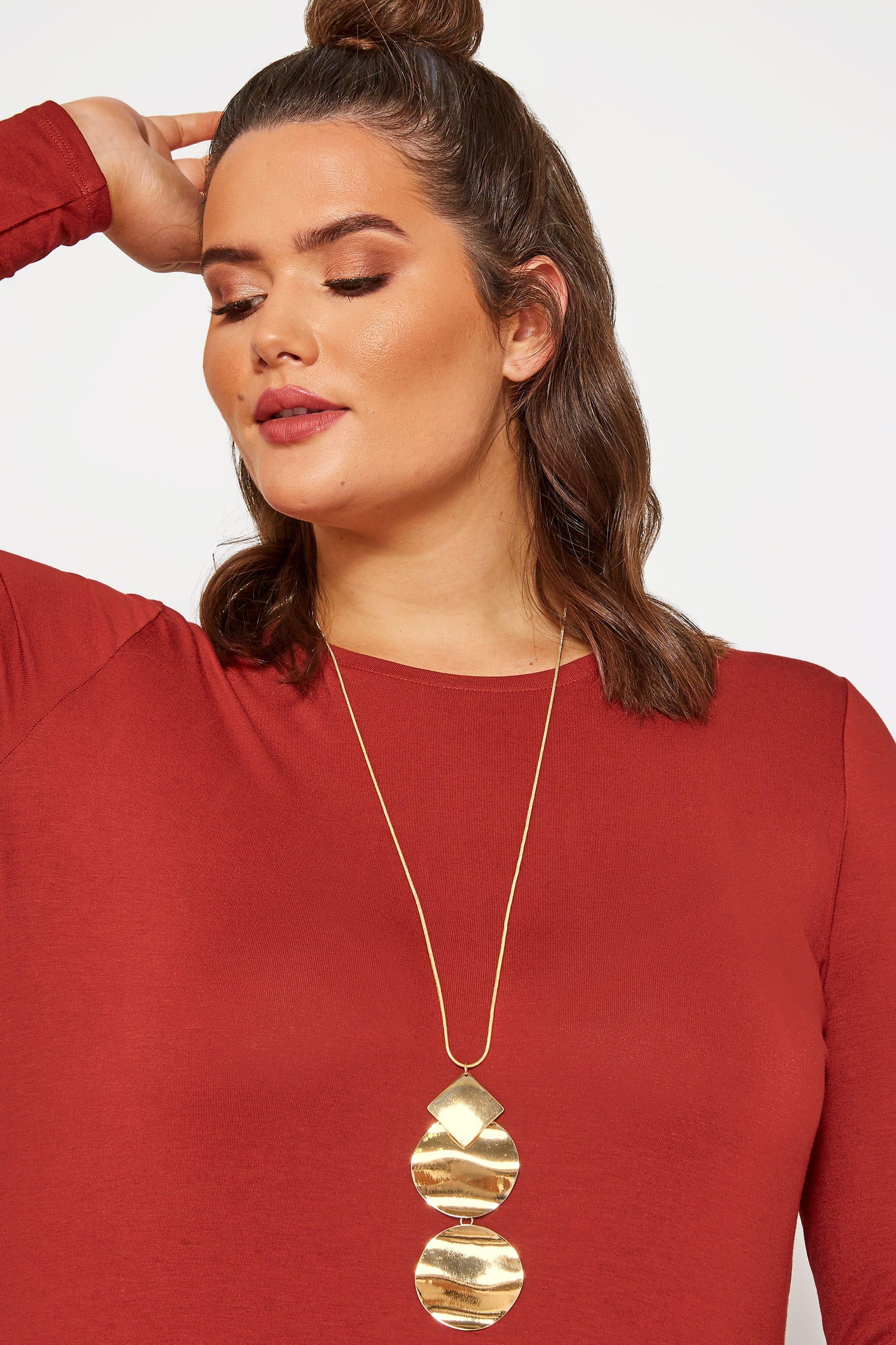Gold Long Pendant Necklace