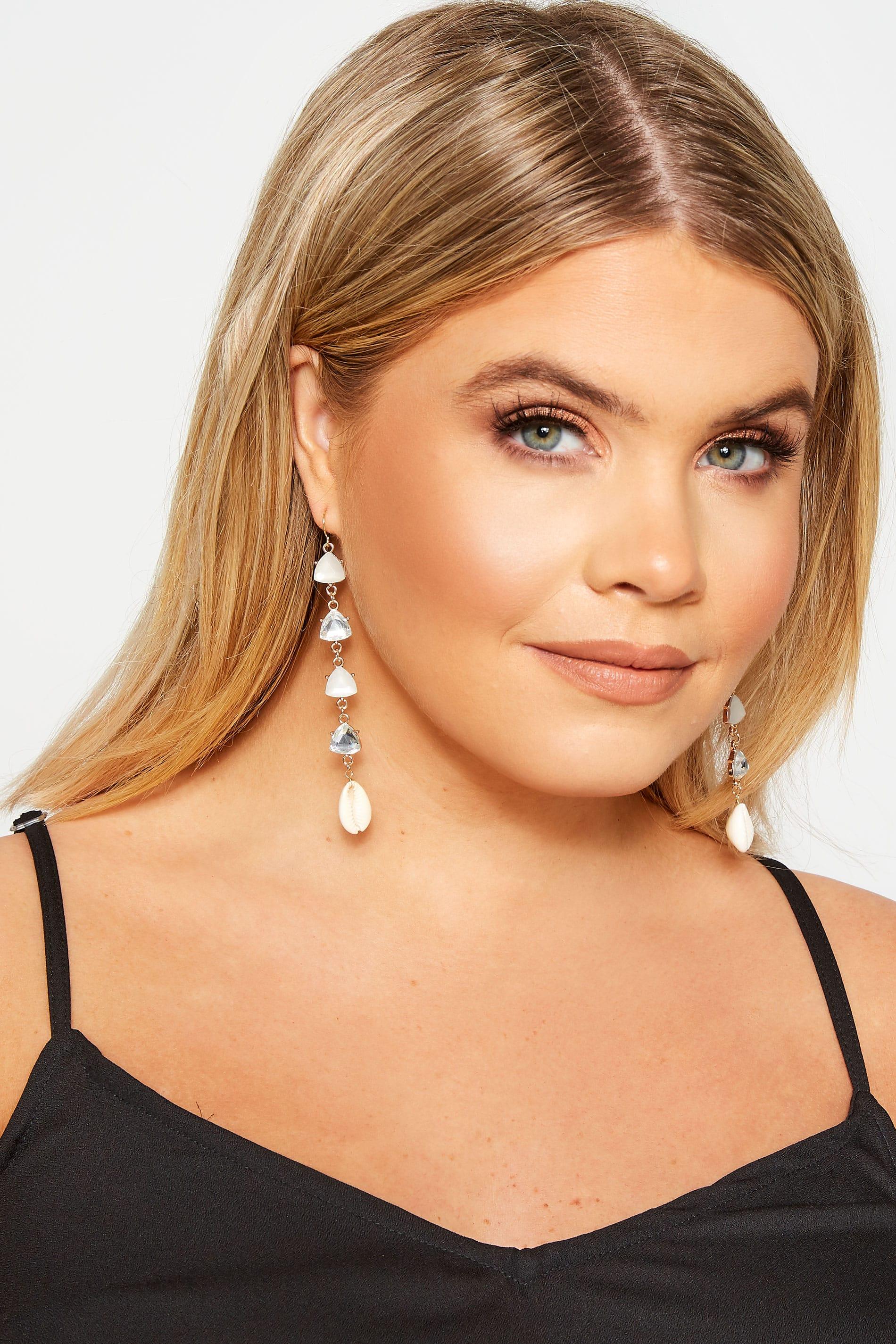 Gold Multi Stone Shell Earrings