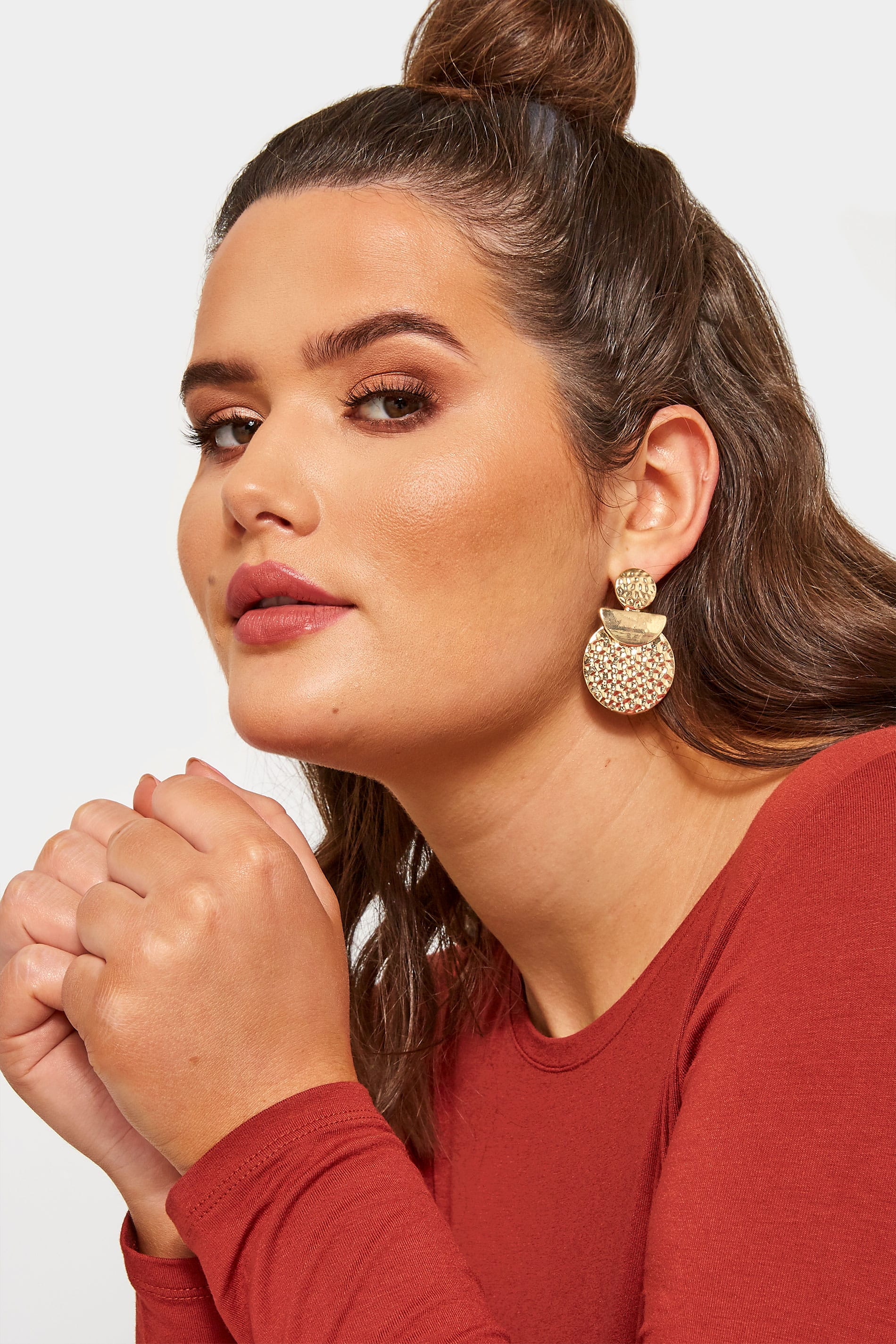 Gold Textured Disc Earrings