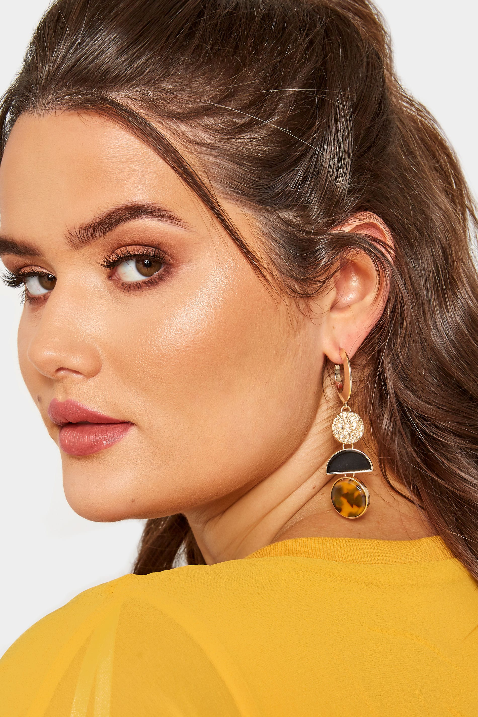 Gold Tortoiseshell Multi Disc Drop Earrings