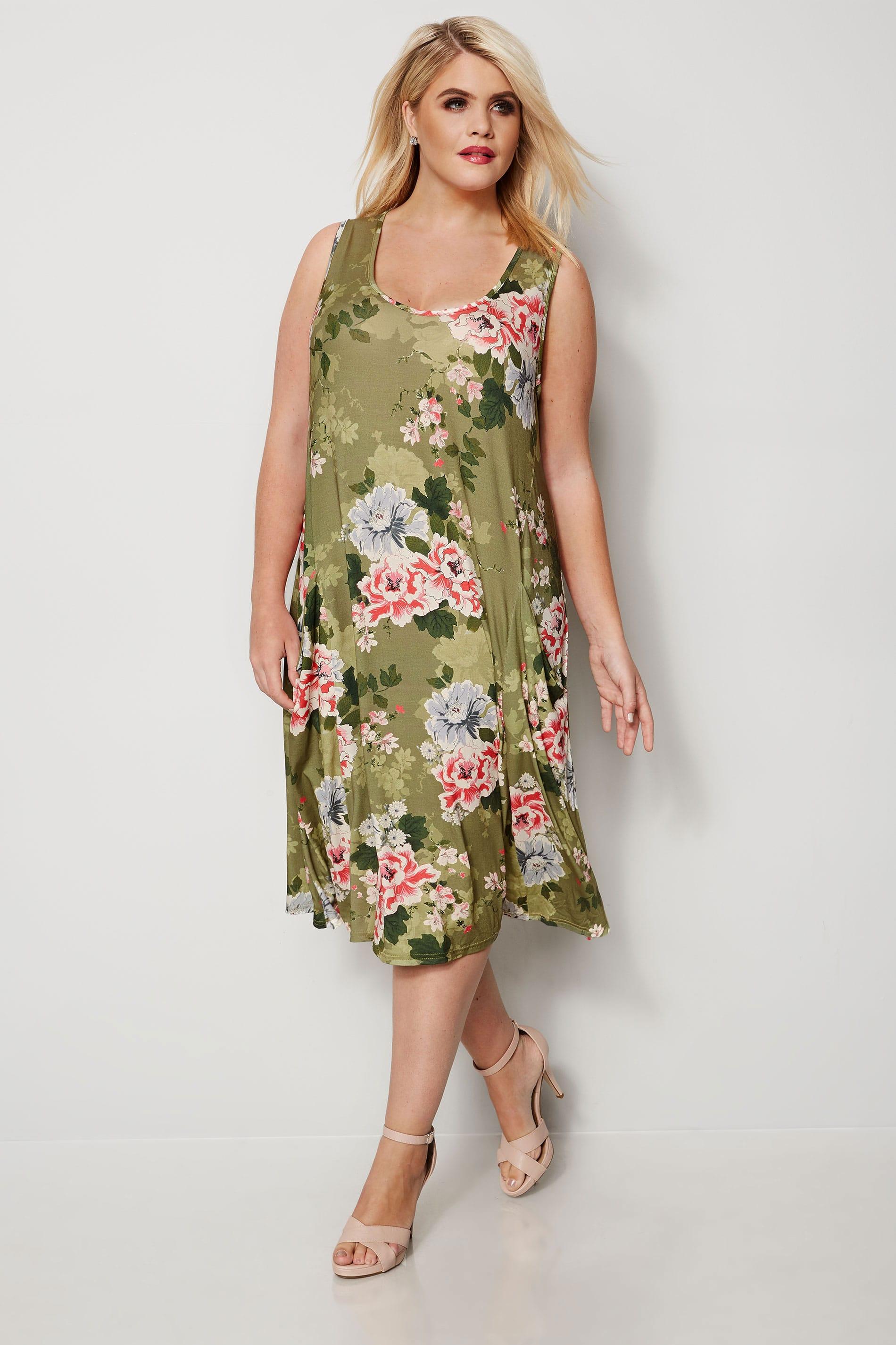Grünes & Pinkes Kleid mit Blumenprint & drapierten Taschen ...