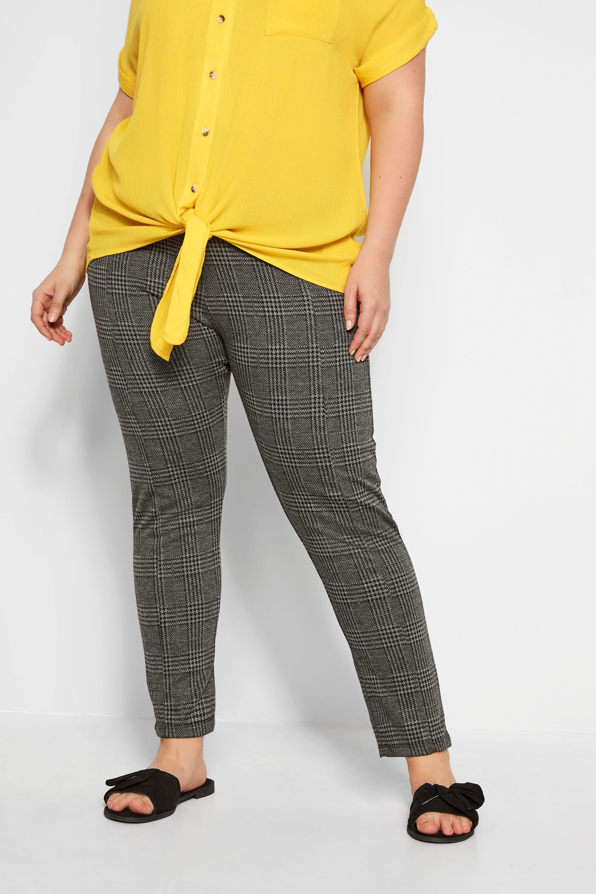 Grey Check Ponte Trousers With Elasticated Panels