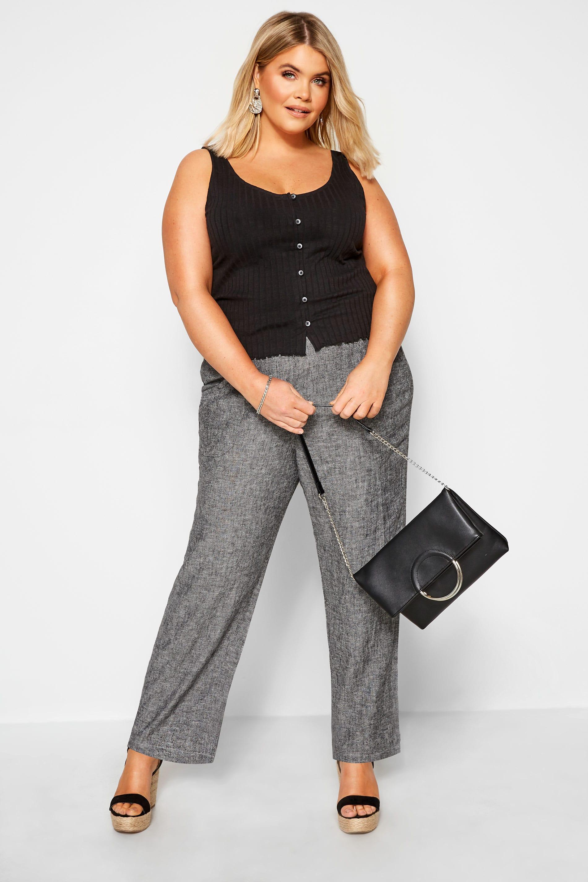 Grey Crosshatch Linen Wide Leg Trousers
