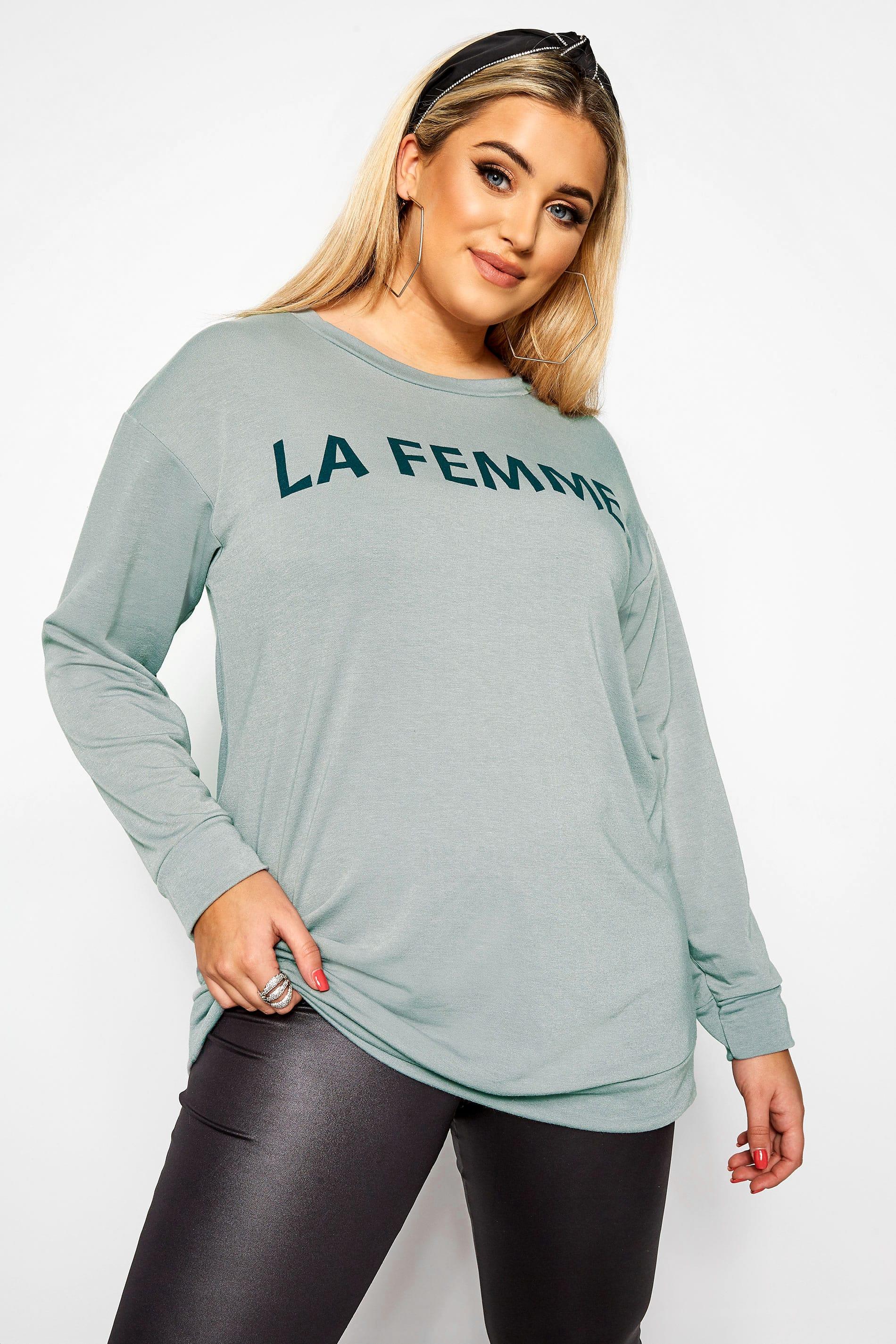 Grey 'La Femme' Slogan Sweatshirt