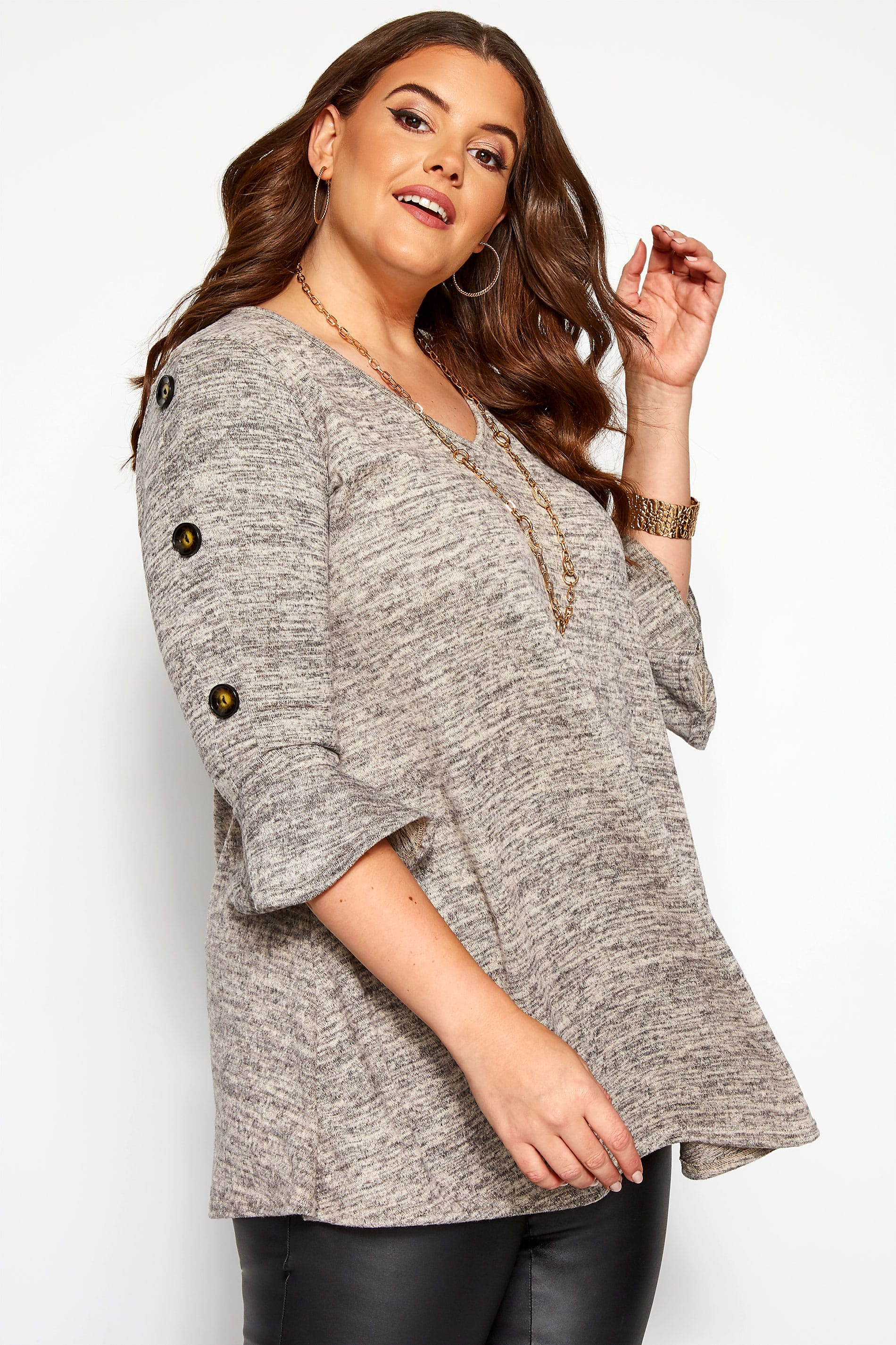 Grey Marl Button Knitted Top
