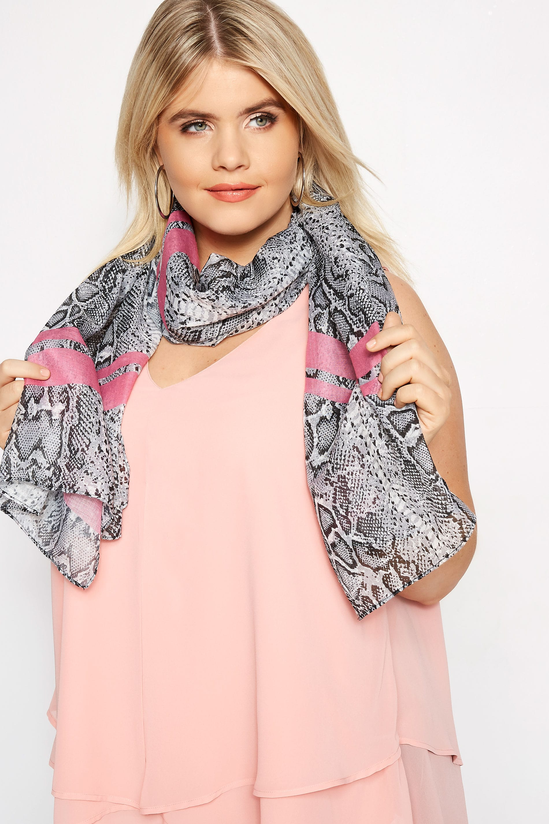 Grey & Pink Snake Print Scarf