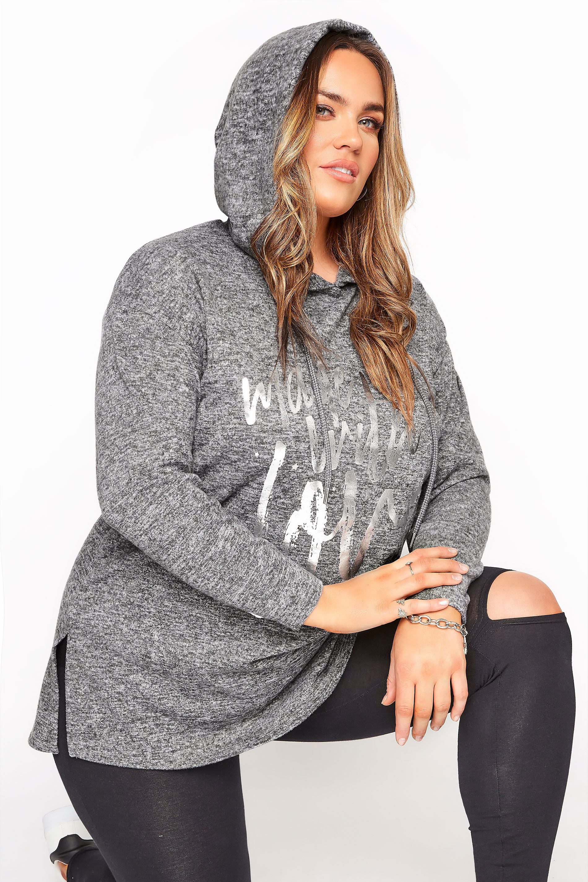 Grey Soft Touch Foil 'Made With Love' Slogan Hoodie