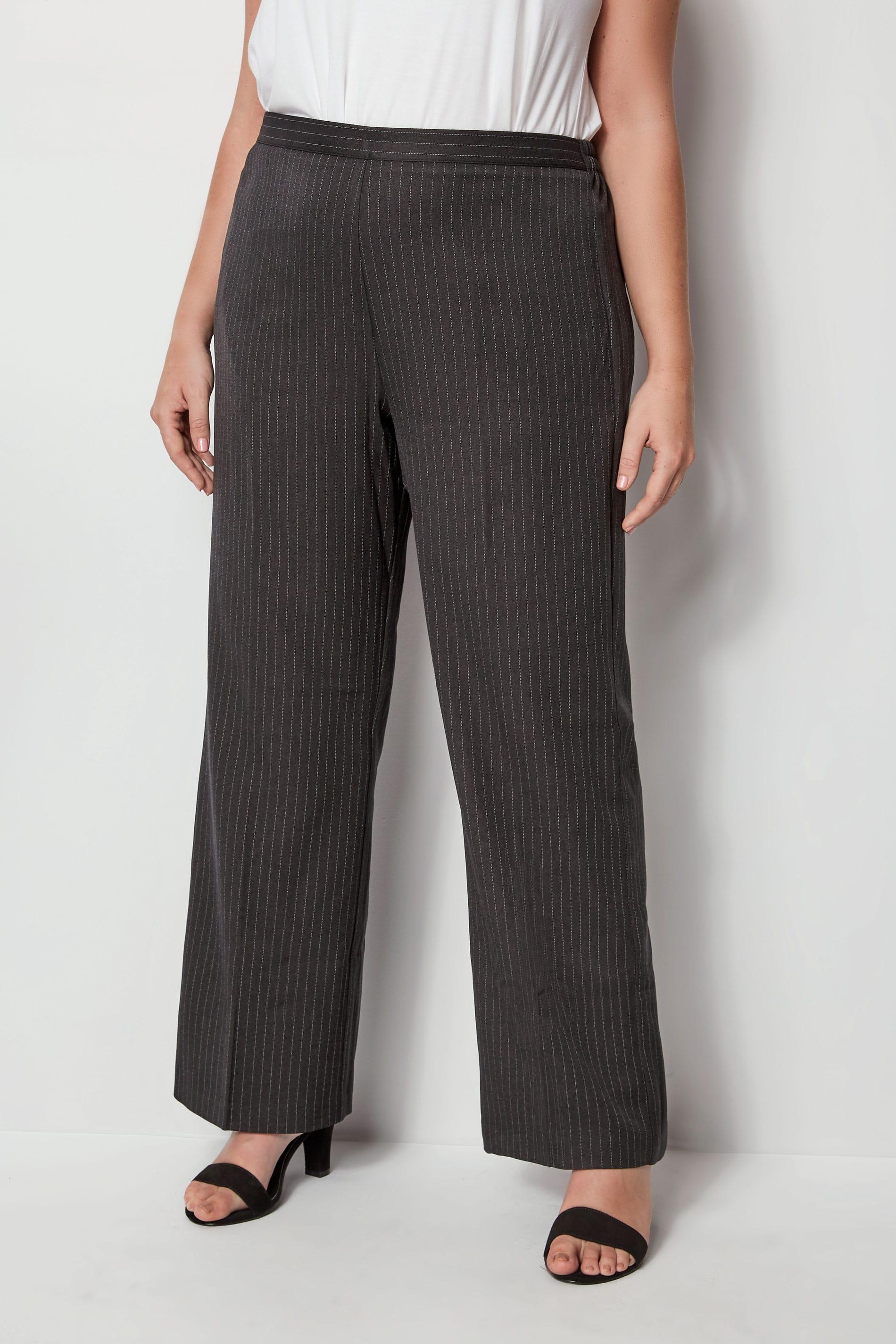 Grey Wide Leg Pinstripe Trouser